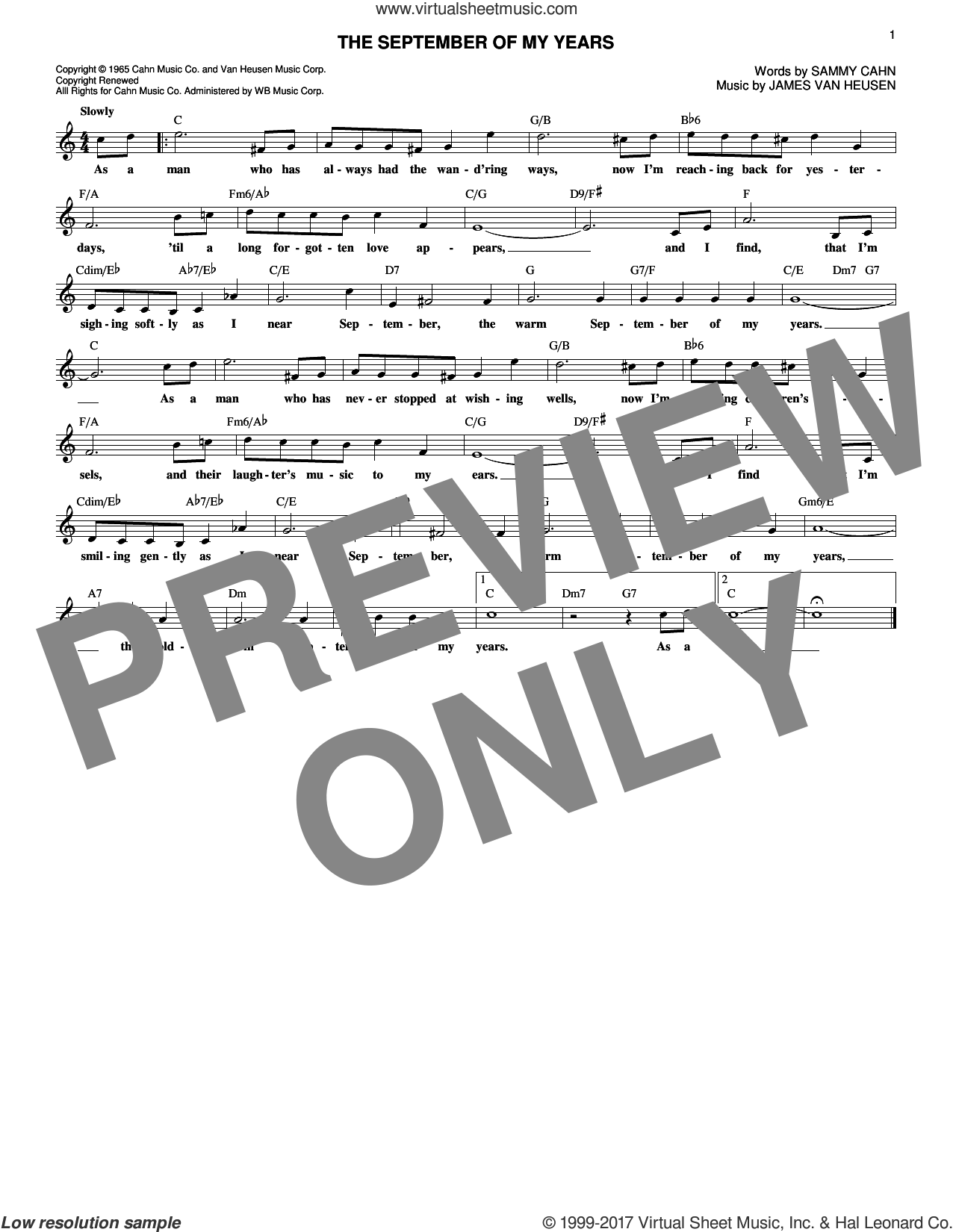 The September Of My Years sheet music for voice and other instruments (fake book) by Frank Sinatra, Jimmy van Heusen and Sammy Cahn, intermediate skill level