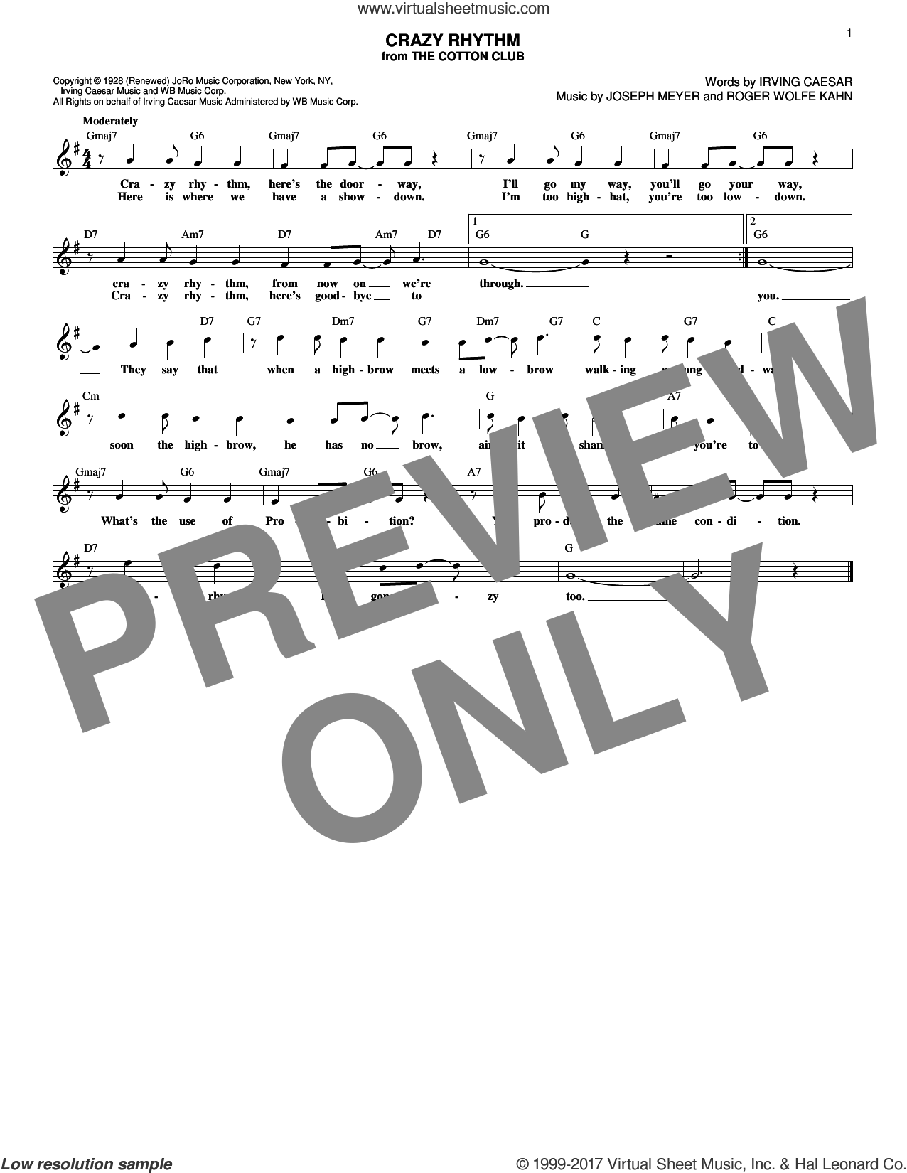 Crazy Rhythm sheet music for voice and other instruments (fake book) by Ben Bernie, Irving Caesar, Joseph Meyer and Roger Wolfe Kahn, intermediate voice. Score Image Preview.