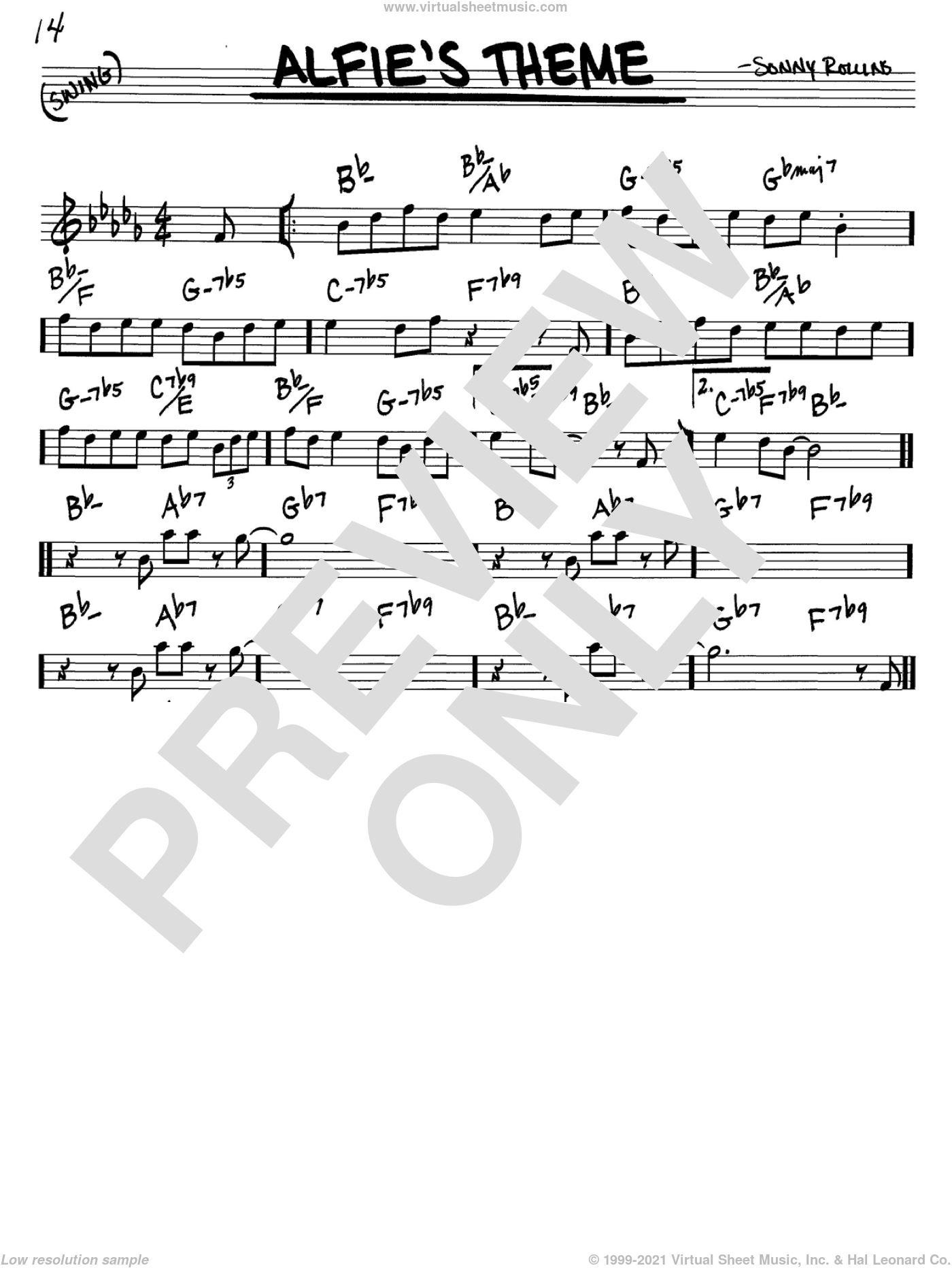 Alfie's Theme sheet music for voice and other instruments (C) by Sonny Rollins. Score Image Preview.