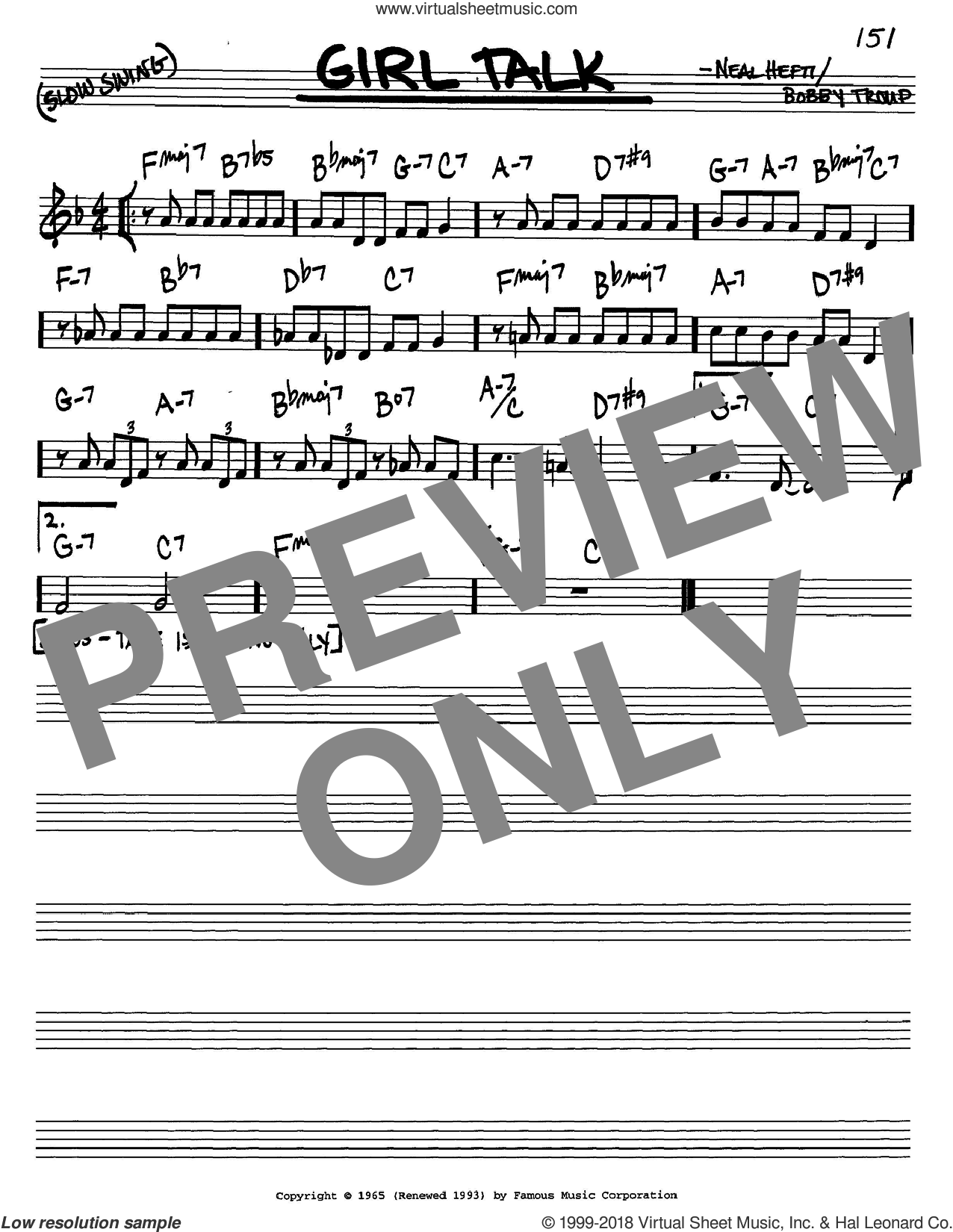Girl Talk sheet music for voice and other instruments (C) by Bobby Troup and Neal Hefti. Score Image Preview.