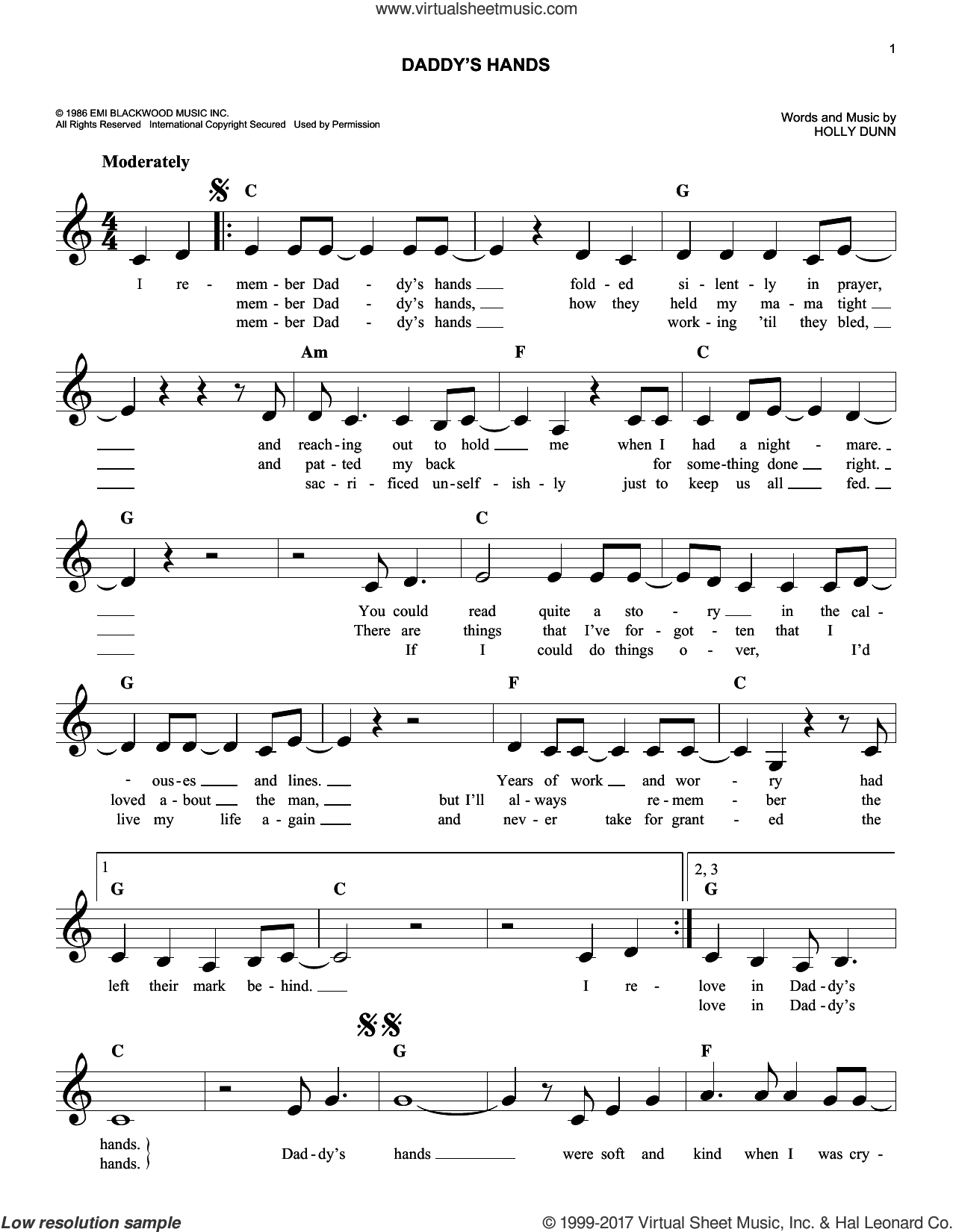 Daddy's Hands sheet music for voice and other instruments (fake book) by Holly Dunn, intermediate skill level