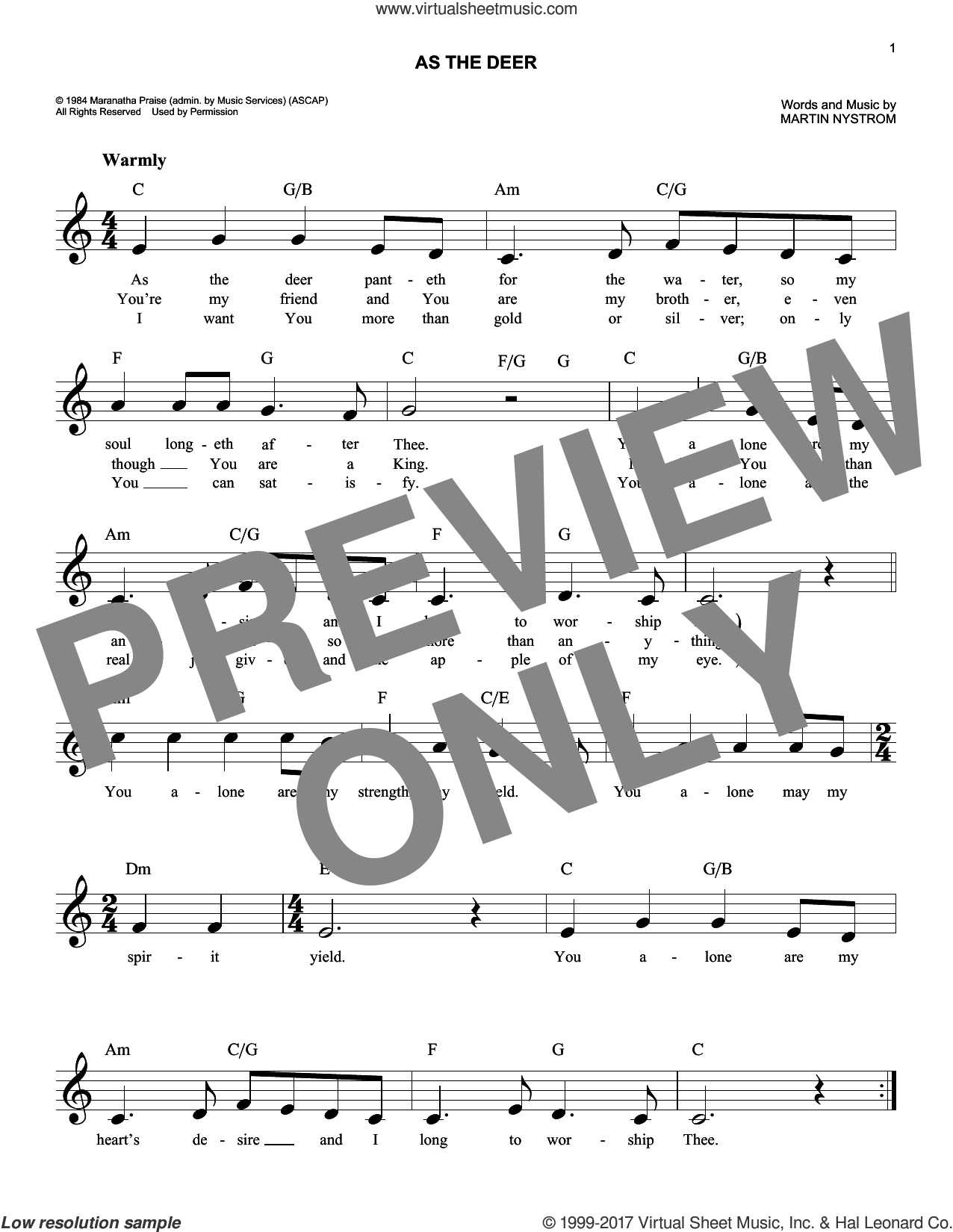 As The Deer sheet music for voice and other instruments (fake book) by Martin Nystrom, intermediate skill level