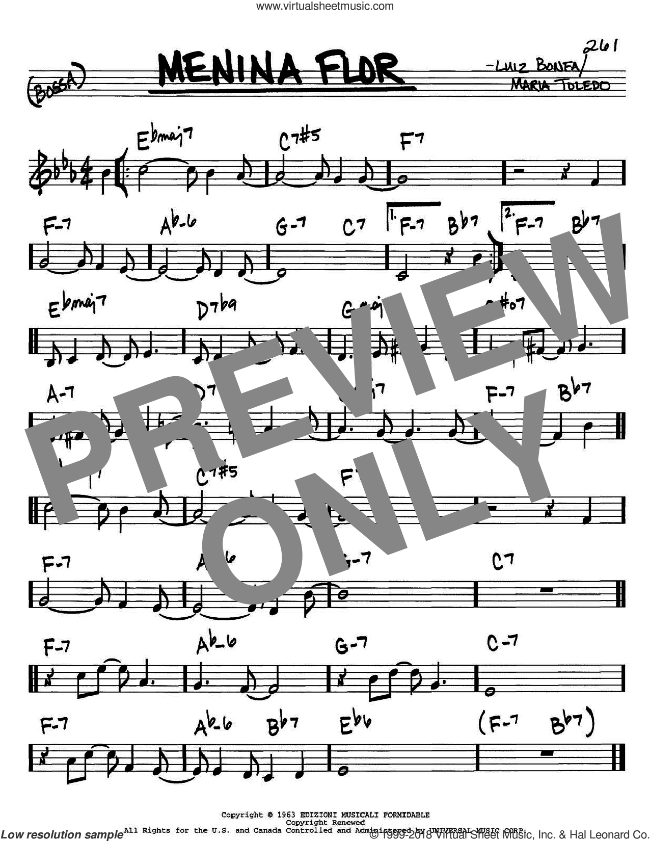 Menina Flor sheet music for voice and other instruments (in C) by Luiz Bonfa, intermediate. Score Image Preview.