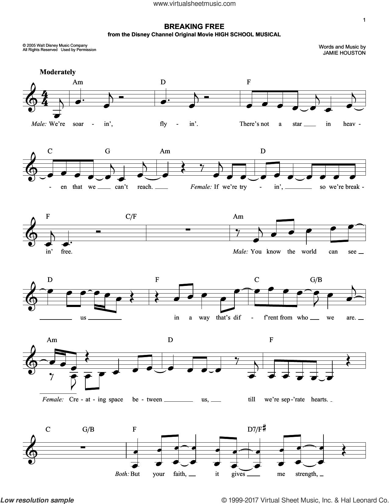 houston breaking free sheet music fake book pdf