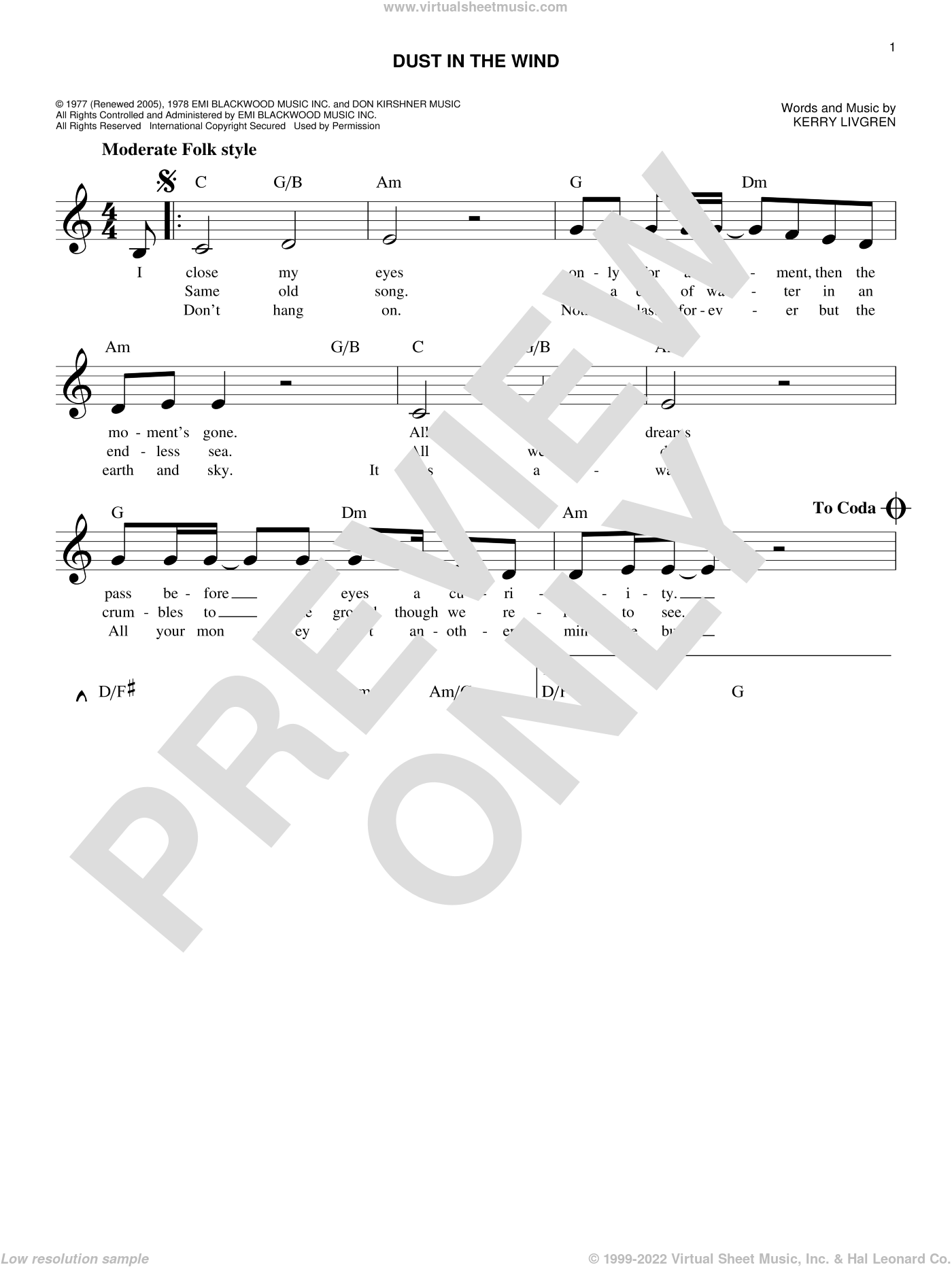 Dust In The Wind sheet music for voice and other instruments (fake book) by Kansas and Kerry Livgren, intermediate skill level