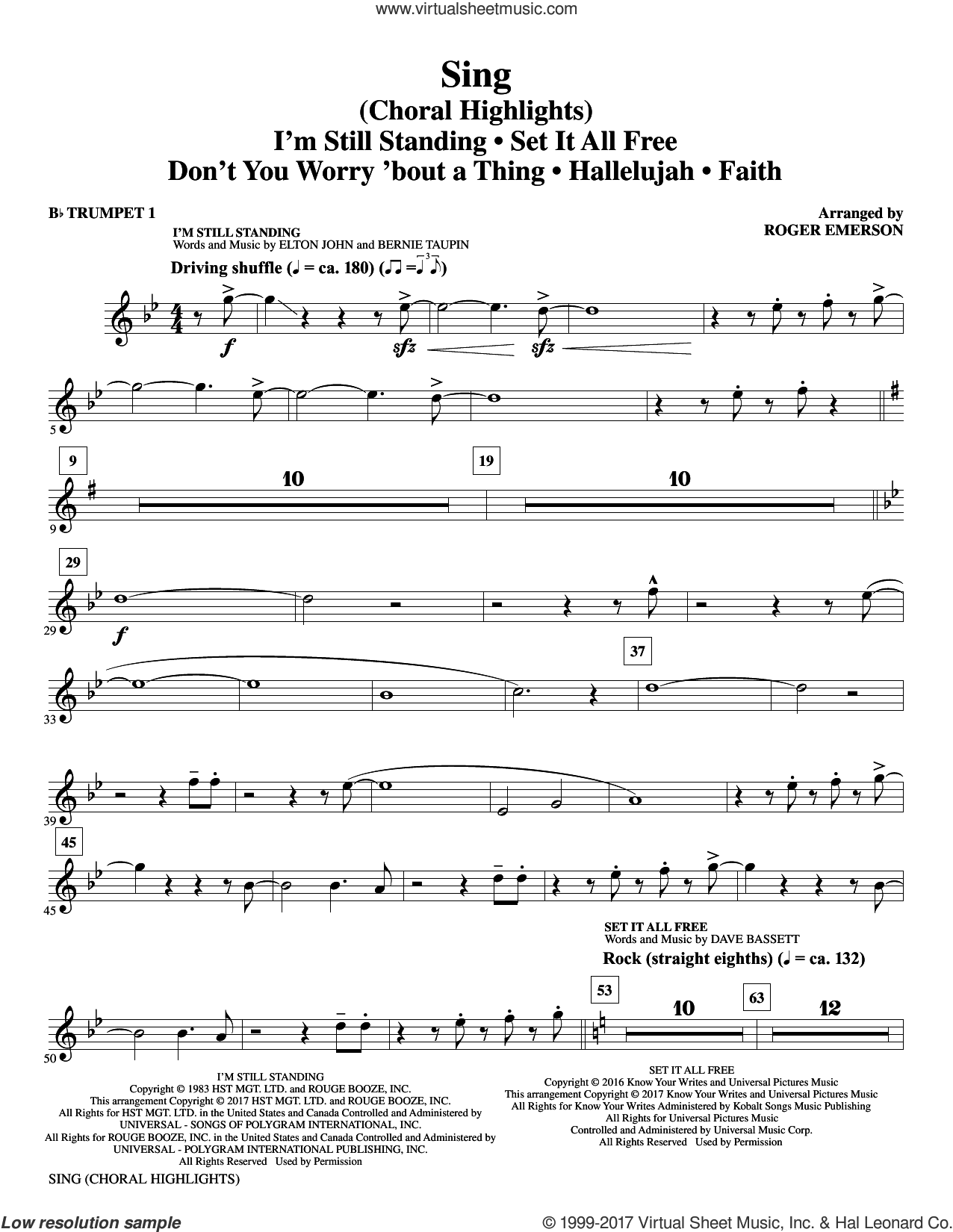 Sing (Choral Highlights) sheet music for orchestra/band (Bb trumpet 1) by Leonard Cohen, Roger Emerson, Justin Timberlake & Matt Morris featuring Charlie Sexton and Lee DeWyze, intermediate. Score Image Preview.