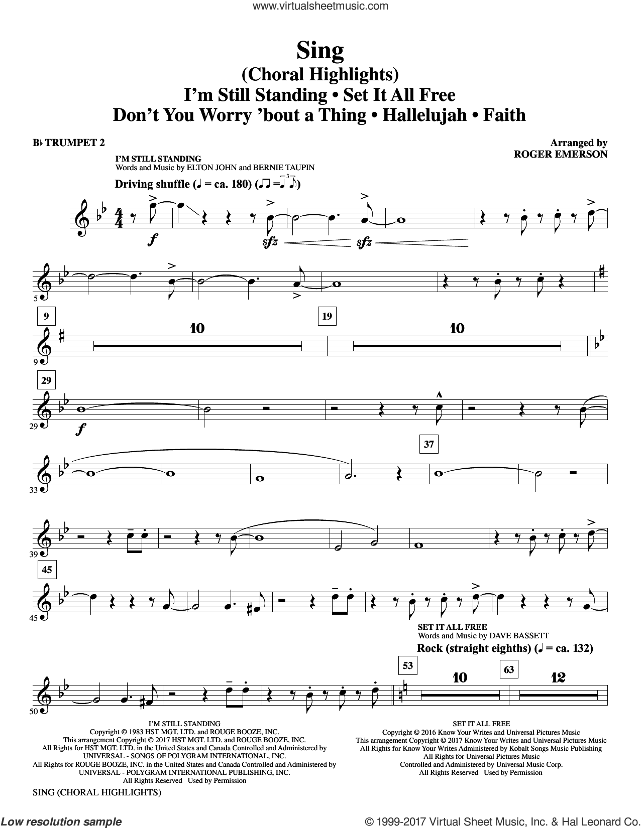 Sing (Choral Highlights) sheet music for orchestra/band (Bb trumpet 2) by Leonard Cohen, Roger Emerson, Justin Timberlake & Matt Morris featuring Charlie Sexton and Lee DeWyze, intermediate skill level