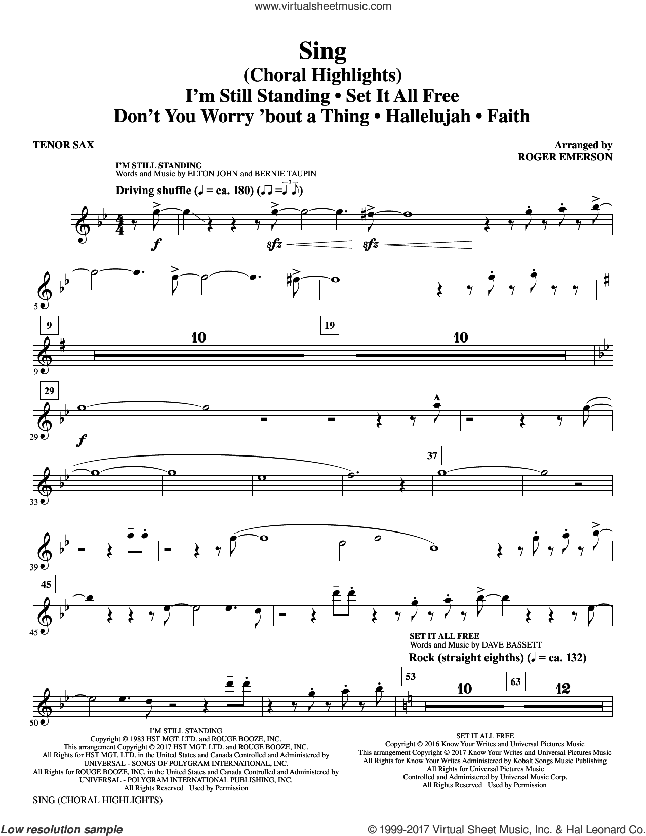 Sing (Choral Highlights) sheet music for orchestra/band (Bb tenor saxophone) by Leonard Cohen, Roger Emerson, Justin Timberlake & Matt Morris featuring Charlie Sexton and Lee DeWyze, intermediate skill level