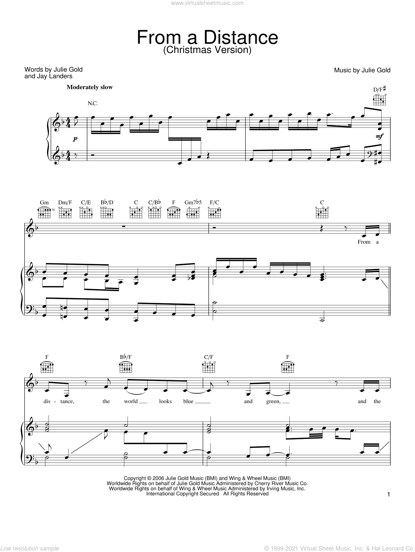 From A Distance (Christmas Version) sheet music for voice, piano or guitar by Bette Midler, Jay Landers and Julie Gold, intermediate skill level