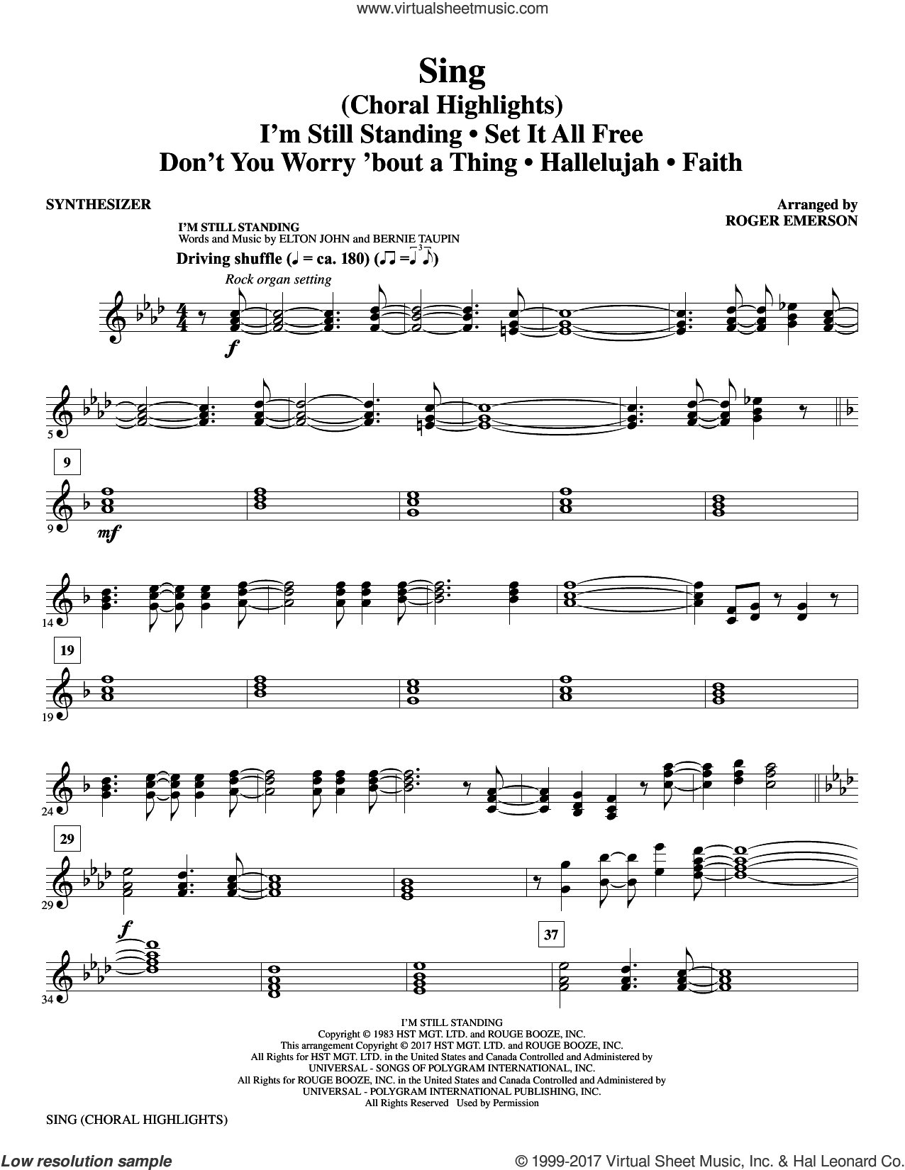 Sing (Choral Highlights) sheet music for orchestra/band (synthesizer) by Leonard Cohen, Roger Emerson, Justin Timberlake & Matt Morris featuring Charlie Sexton and Lee DeWyze, intermediate skill level