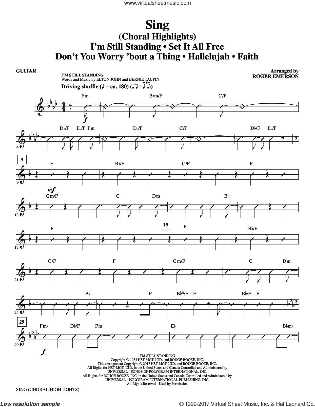 Sing (Choral Highlights) sheet music for orchestra/band (guitar) by Leonard Cohen, Roger Emerson, Justin Timberlake & Matt Morris featuring Charlie Sexton and Lee DeWyze, intermediate. Score Image Preview.