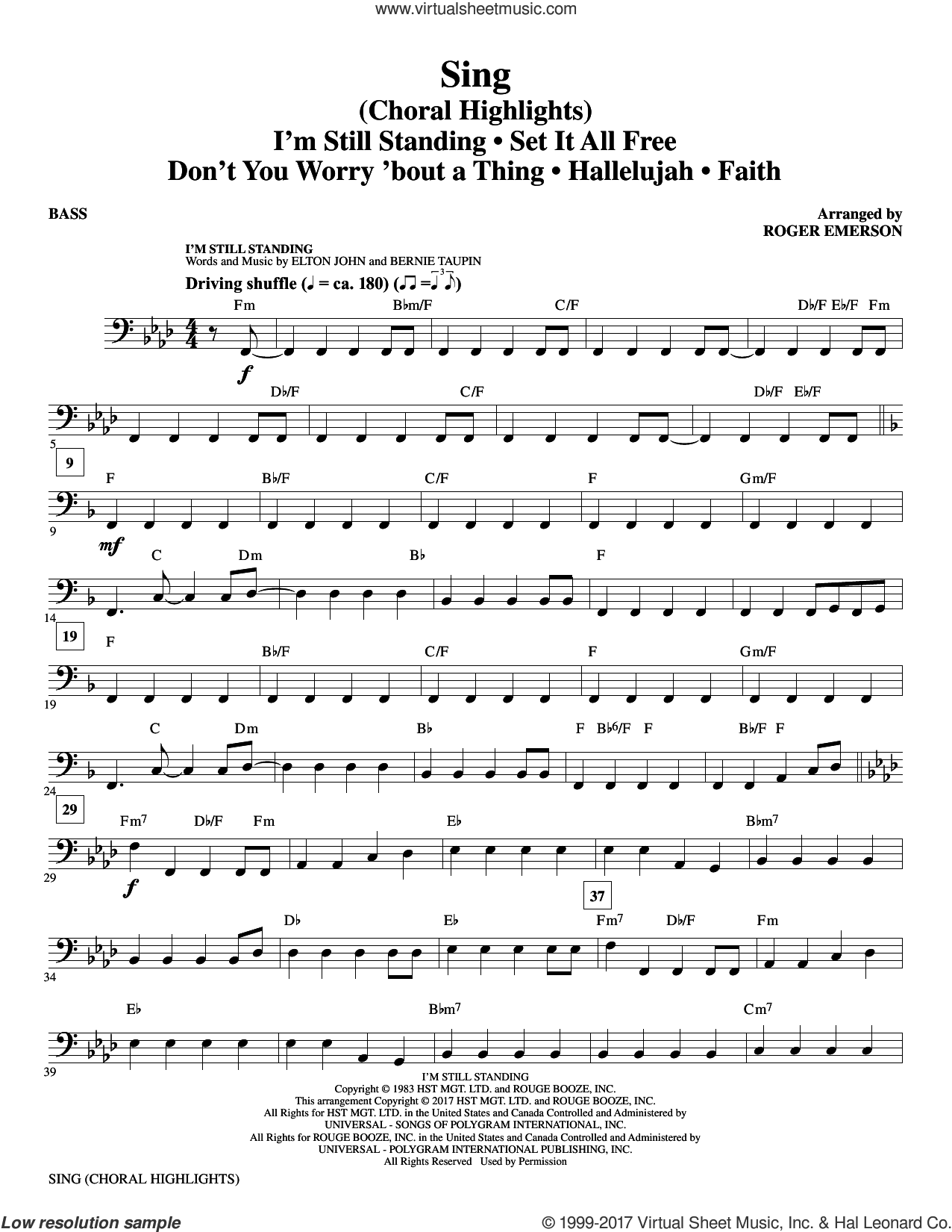 Sing (Choral Highlights) sheet music for orchestra/band (bass) by Leonard Cohen, Roger Emerson, Justin Timberlake & Matt Morris featuring Charlie Sexton and Lee DeWyze, intermediate skill level