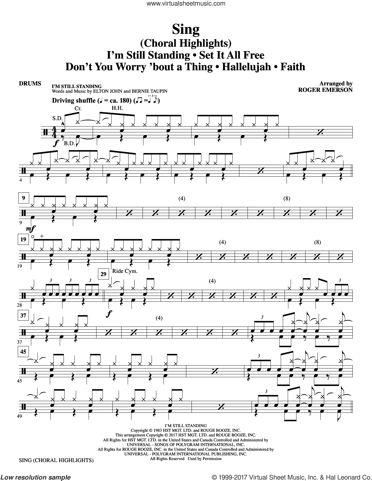 Sing (Choral Highlights) sheet music for orchestra/band (drums) by Leonard Cohen, Roger Emerson and Justin Timberlake & Matt Morris featuring Charlie Sexton, intermediate. Score Image Preview.