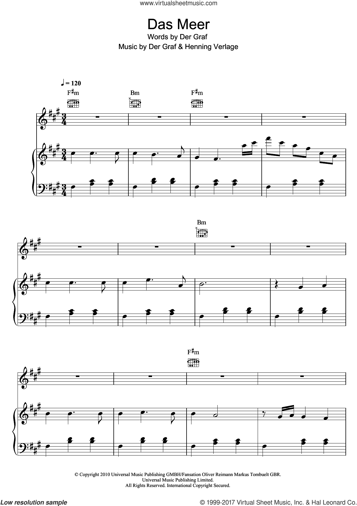 Das Meer sheet music for voice, piano or guitar by Henning Verlage and Der Graf. Score Image Preview.