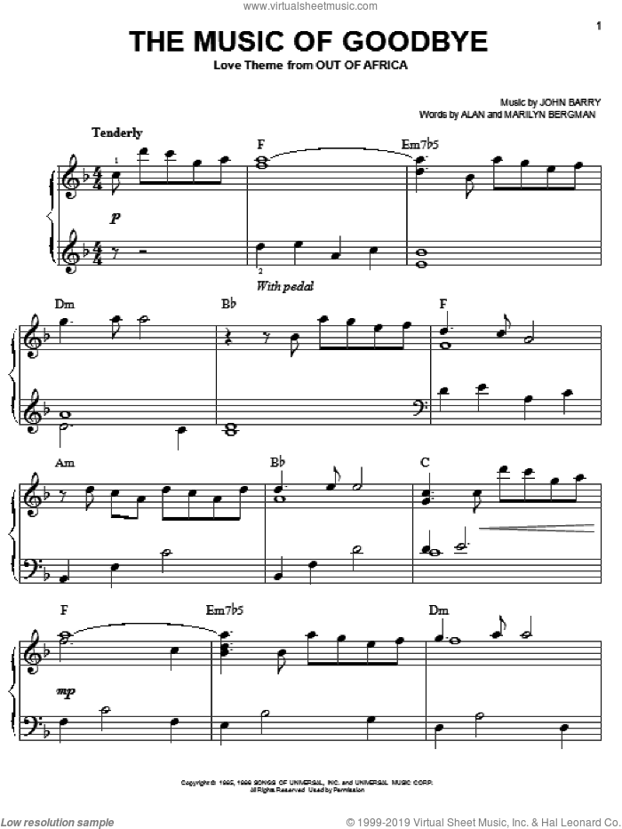 The Music Of Goodbye sheet music for piano solo by Alan Bergman, John Barry and Marilyn Bergman, easy piano. Score Image Preview.