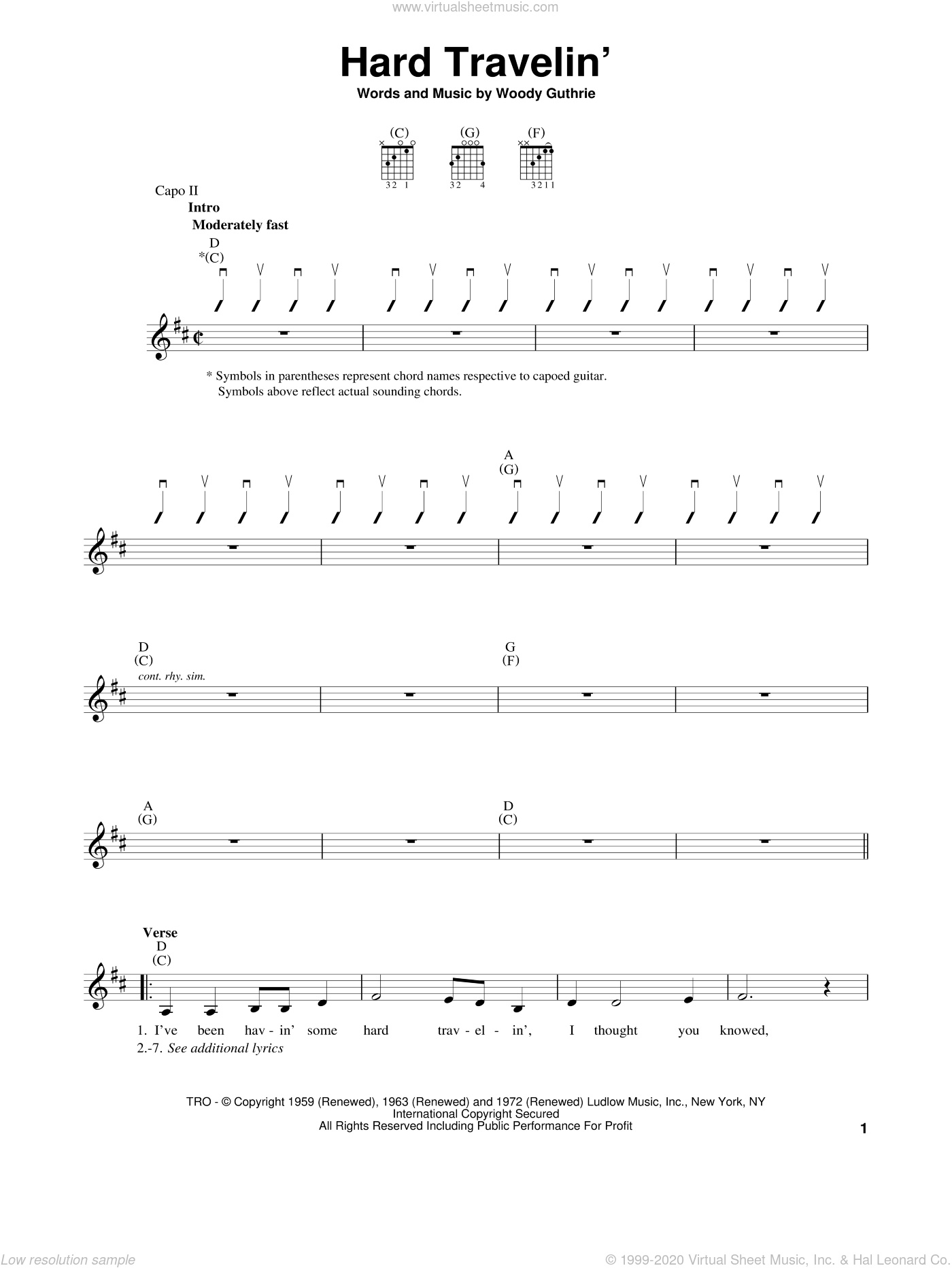 Hard Travelin' sheet music for guitar solo (chords) by Woody Guthrie. Score Image Preview.