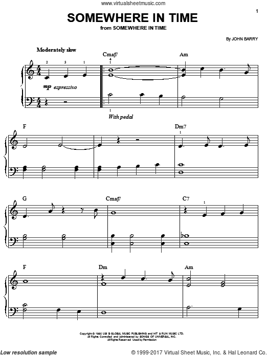 Somewhere In Time sheet music for piano solo (chords) by B.A. Robertson