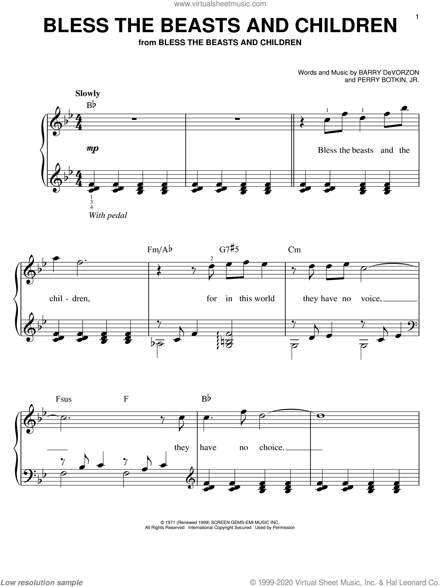 Bless The Beasts And Children sheet music for piano solo by Carpenters, Barry DeVorzon and Perry Botkin, Jr., easy skill level