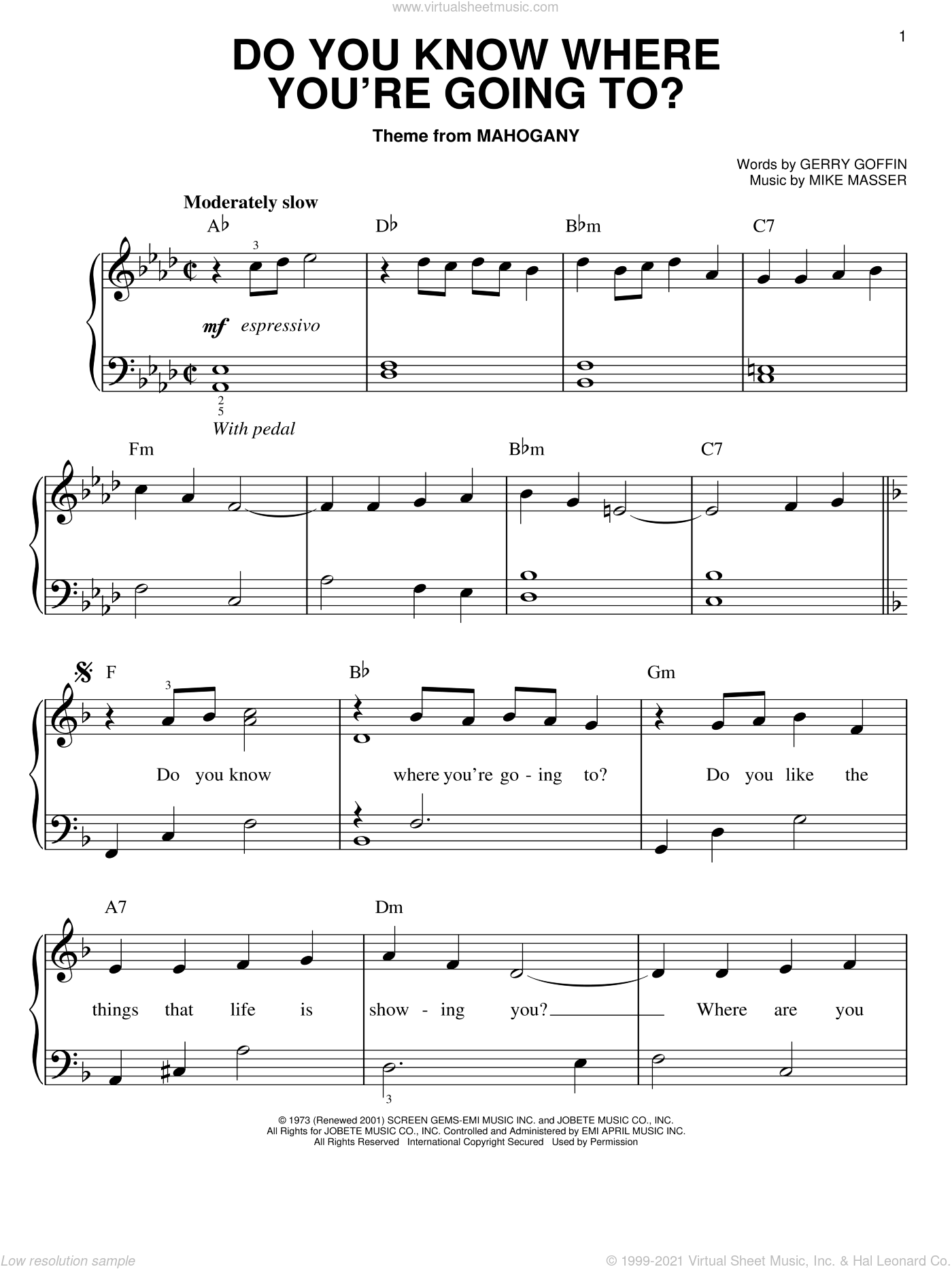 Do You Know Where You're Going To? sheet music for piano solo by Michael Masser, Diana Ross and Gerry Goffin. Score Image Preview.