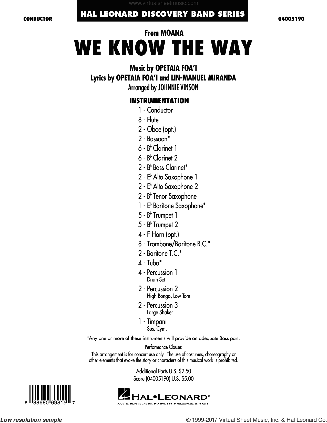 We Know the Way (from Moana) (COMPLETE) sheet music for concert band by Lin-Manuel Miranda and Johnnie Vinson, intermediate skill level