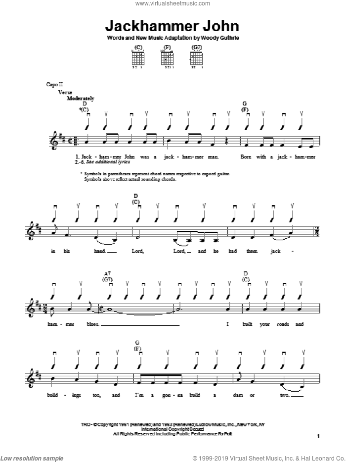 Jackhammer John sheet music for guitar solo (chords) by Woody Guthrie, easy guitar (chords)