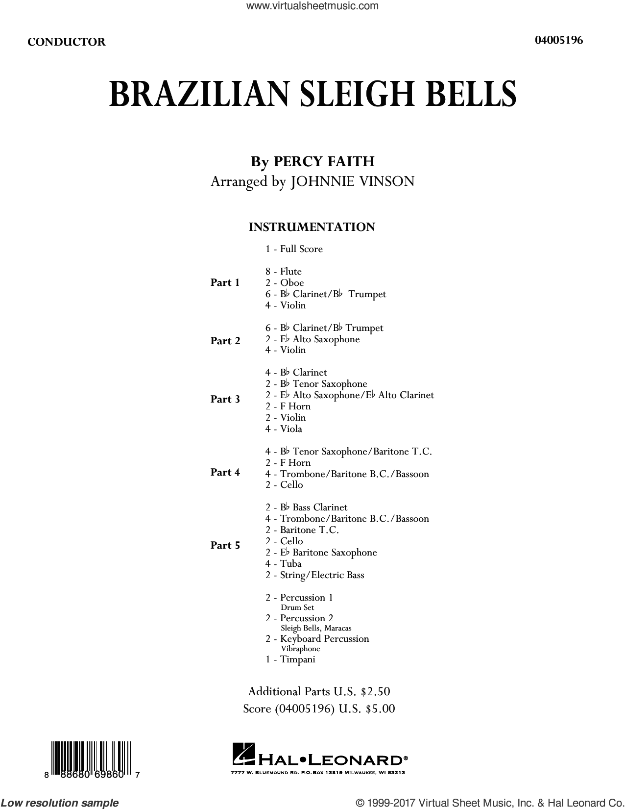 Brazilian Sleigh Bells (COMPLETE) sheet music for concert band by Johnnie Vinson and Percy Faith, intermediate. Score Image Preview.