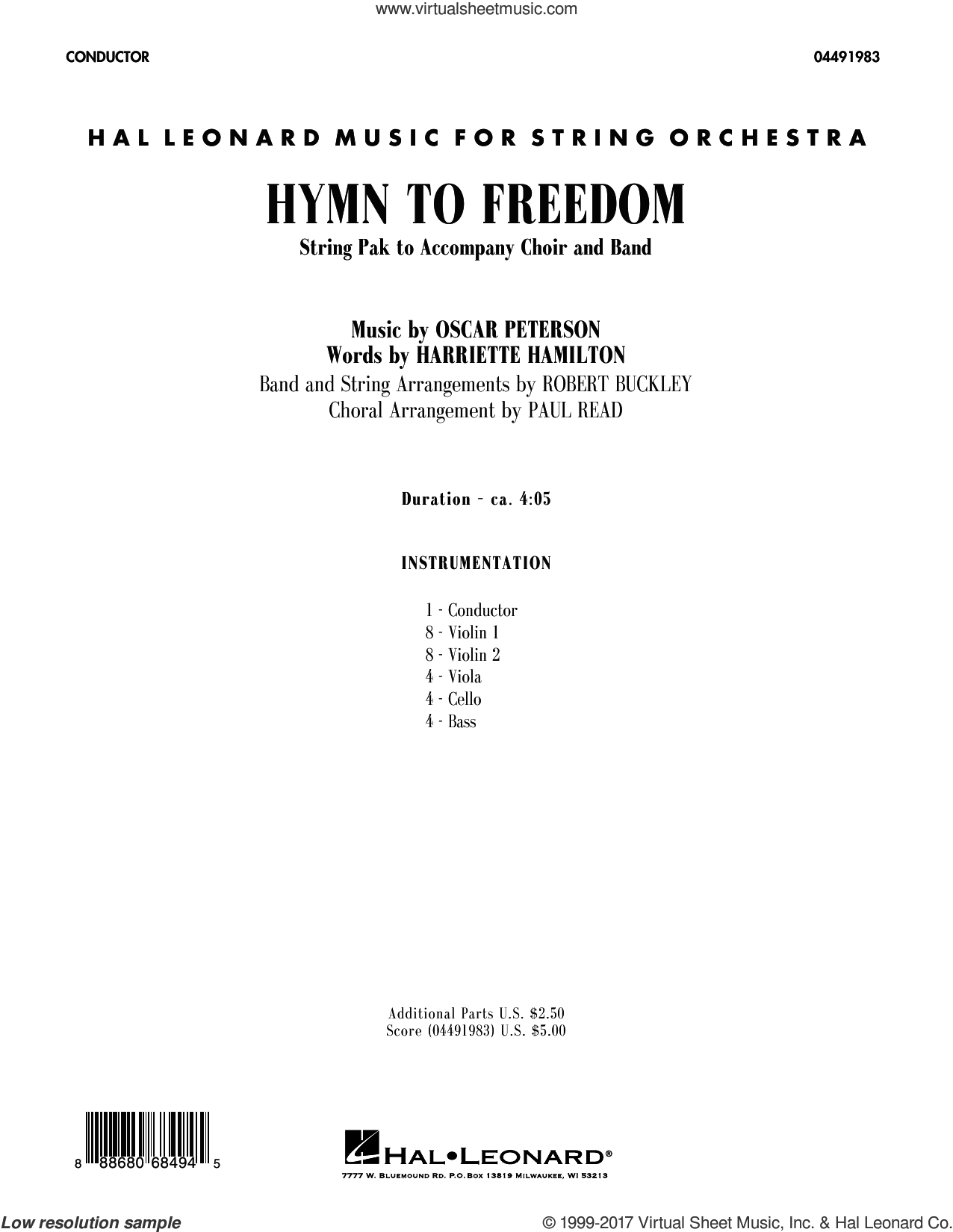 Hymn to Freedom (COMPLETE) sheet music for orchestra by Robert Buckley and Oscar Peterson, intermediate. Score Image Preview.
