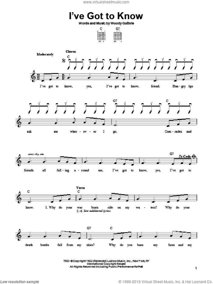 I've Got To Know sheet music for guitar solo (chords) by Woody Guthrie, easy guitar (chords)