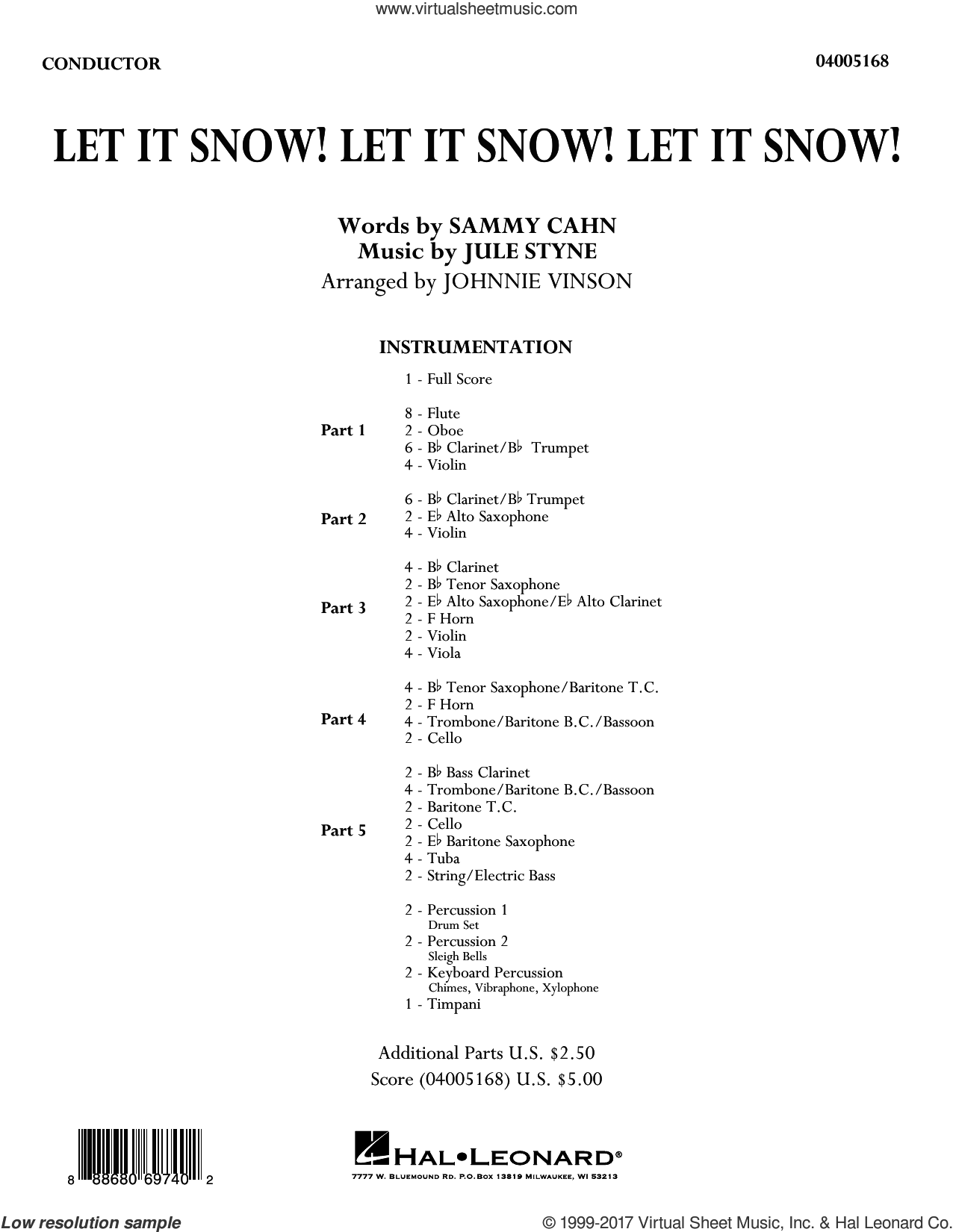 Let It Snow! Let It Snow! Let It Snow!, complete collection (COMPLETE) sheet music for concert band by Sammy Cahn, Johnnie Vinson and Jule Styne, intermediate. Score Image Preview.