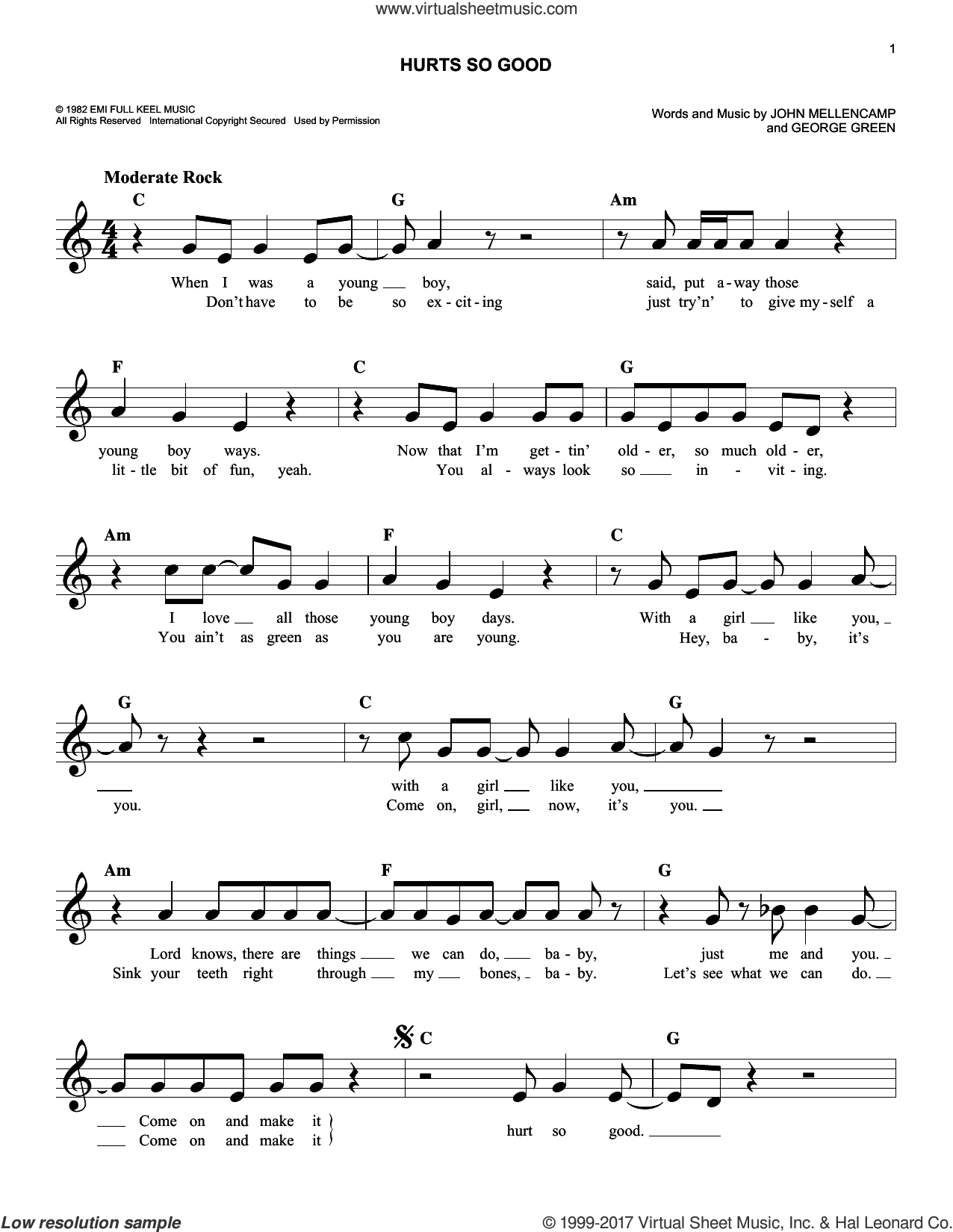 Hurts So Good sheet music for voice and other instruments (fake book) by John Mellencamp and George Green, intermediate skill level