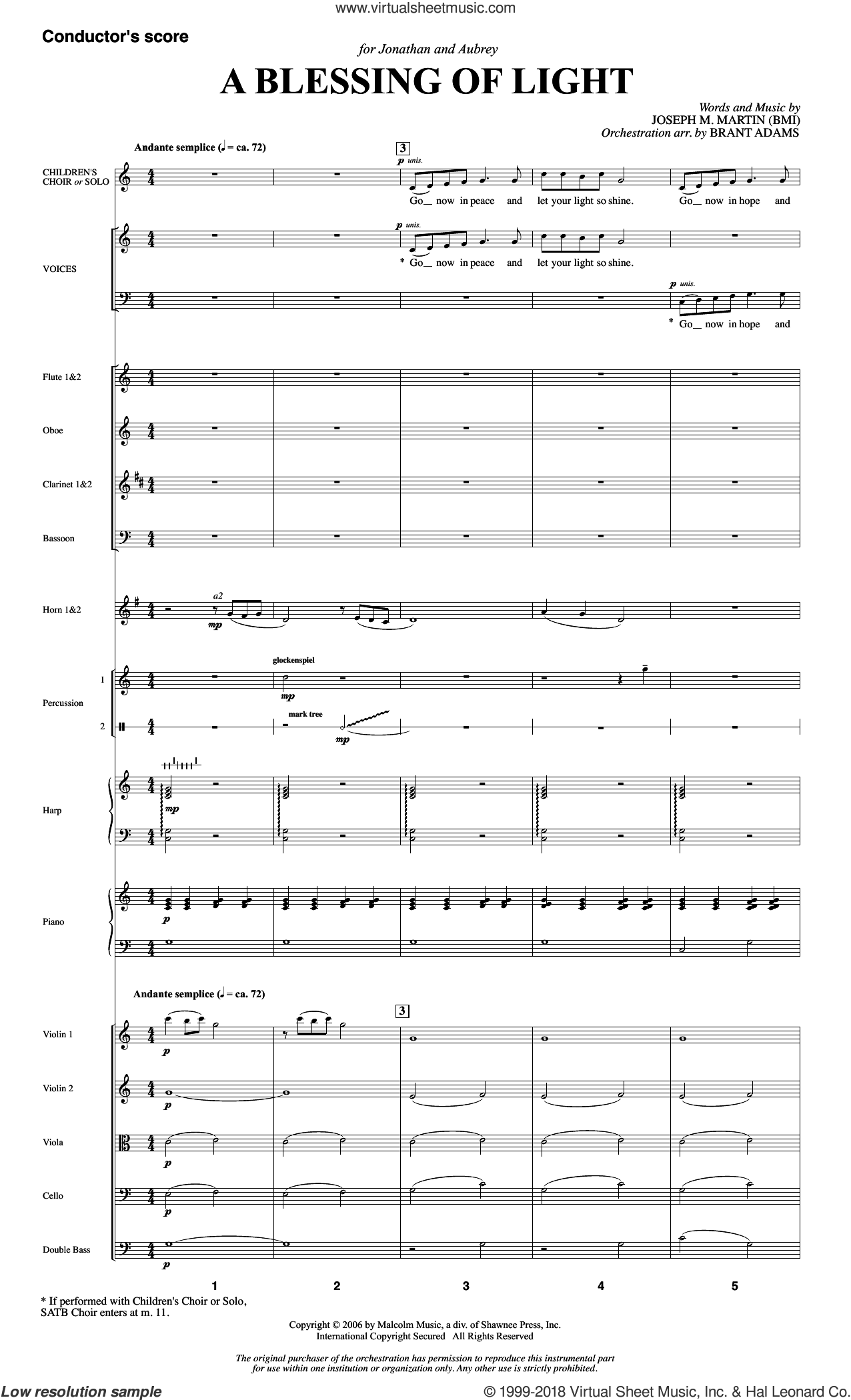 A Blessing of Light (COMPLETE) sheet music for orchestra/band by Joseph M. Martin, intermediate