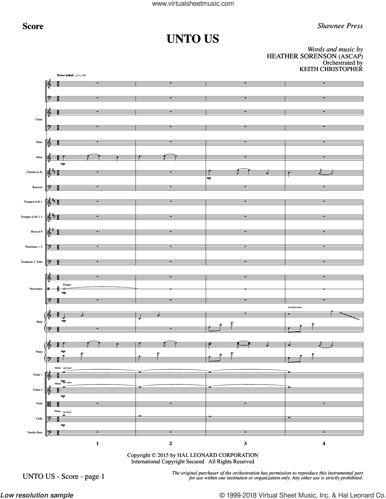 Unto Us (COMPLETE) sheet music for orchestra/band by Heather Sorenson, intermediate skill level