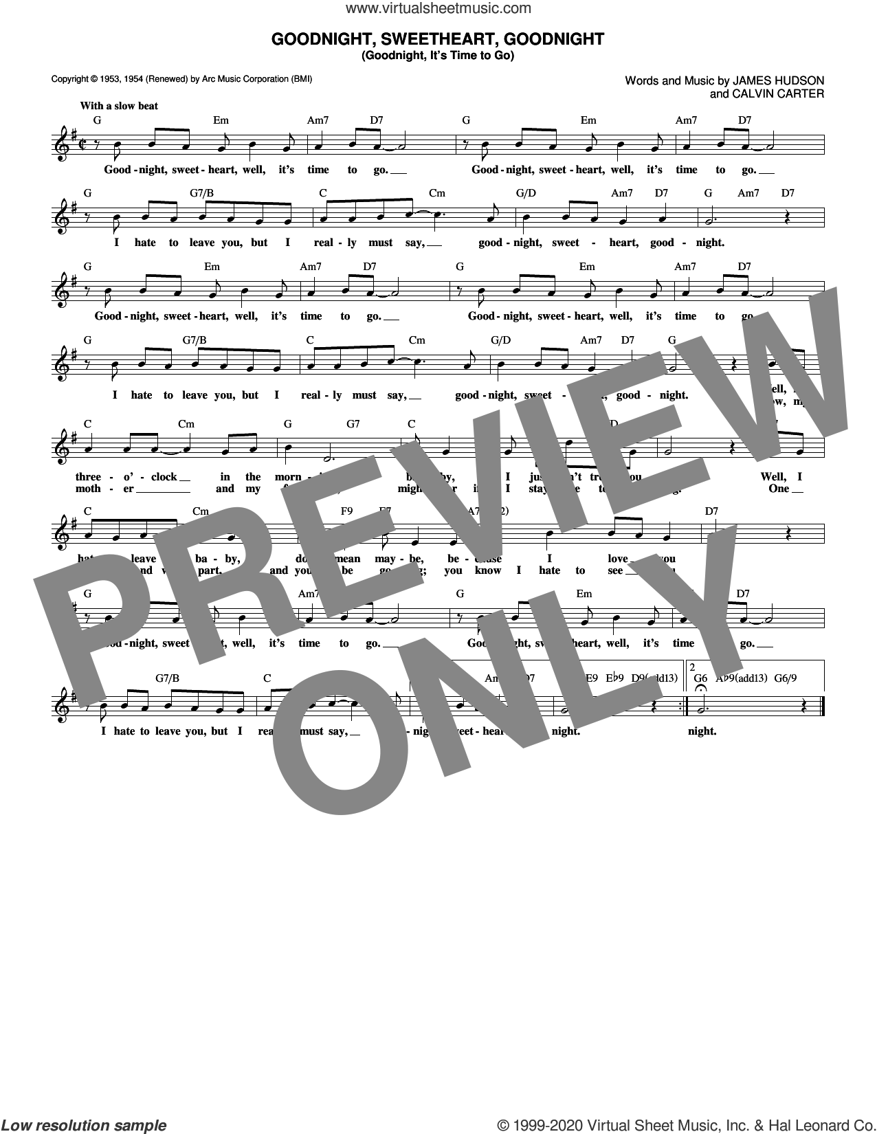Goodnight, Sweetheart, Goodnight (Goodnight, It's Time To Go) sheet music for voice and other instruments (fake book) by McGuire Sisters, Chuck Berry, Tokens, Calvin Carter and James Hudson, intermediate skill level