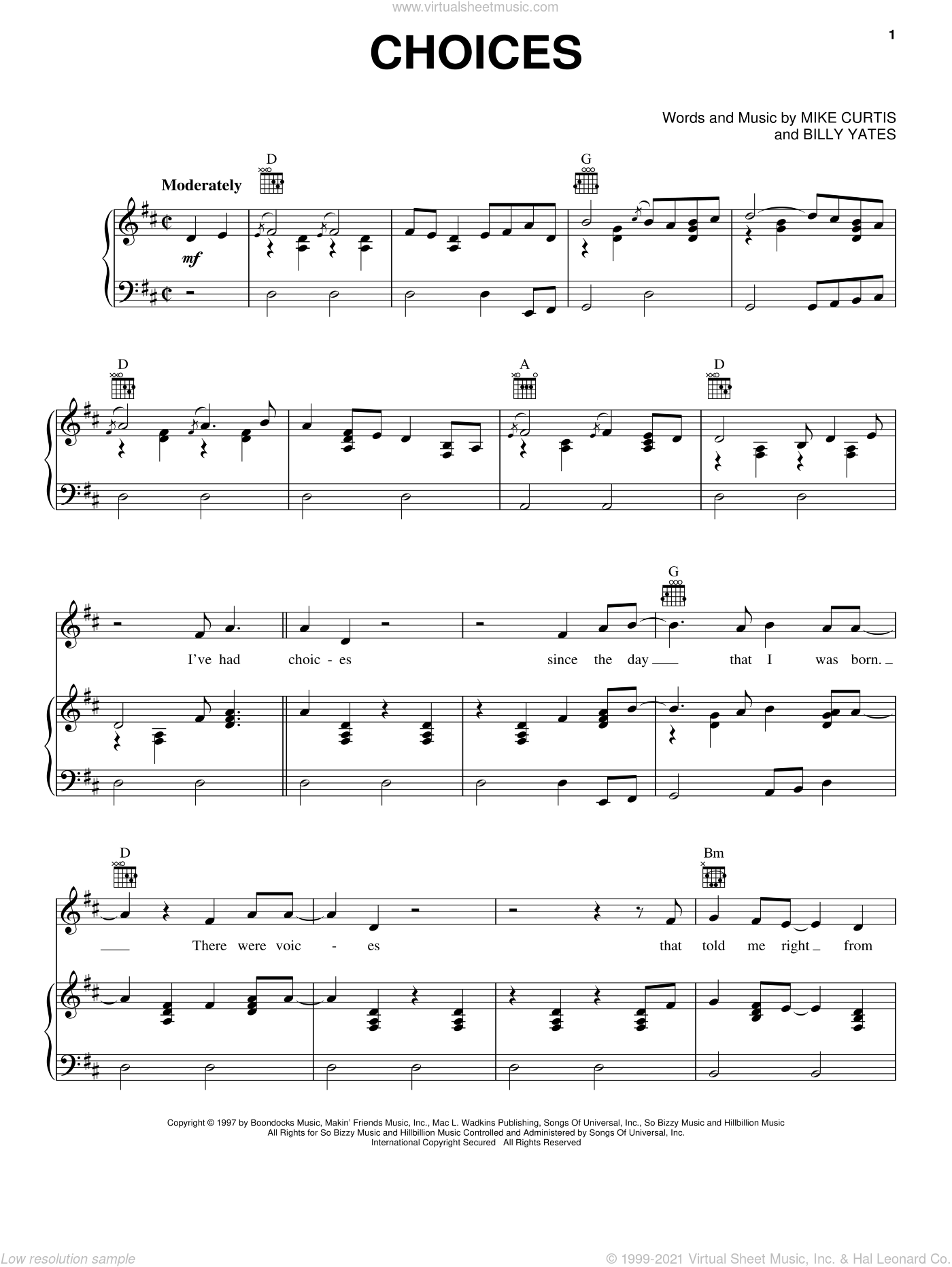 Choices sheet music for voice, piano or guitar by George Jones, Billy Yates and Mike Curtis, intermediate skill level