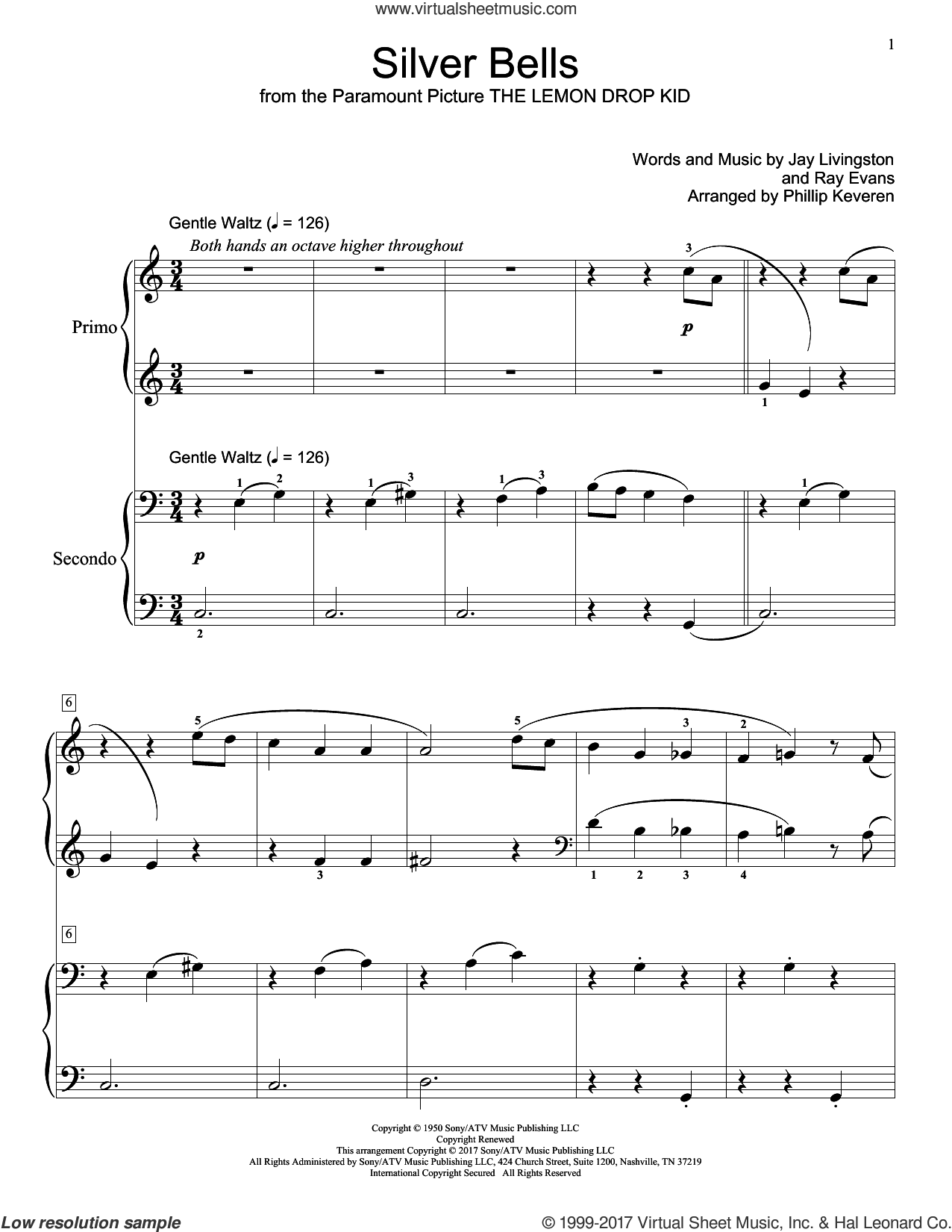 Silver Bells sheet music for piano four hands by Jay Livingston and Ray Evans, intermediate skill level