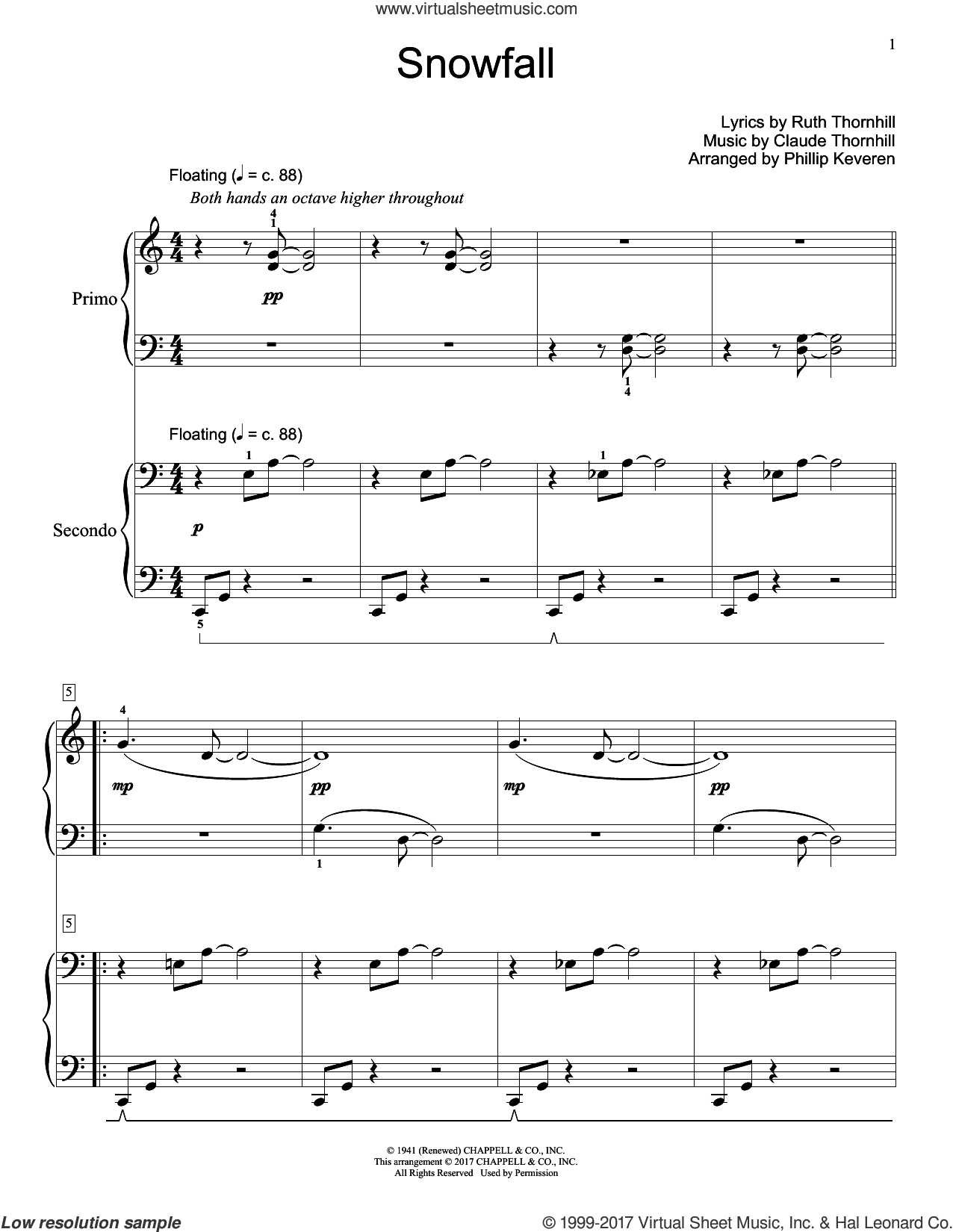 Snowfall sheet music for piano four hands by Claude Thornhill and Ruth Thornhill, intermediate skill level