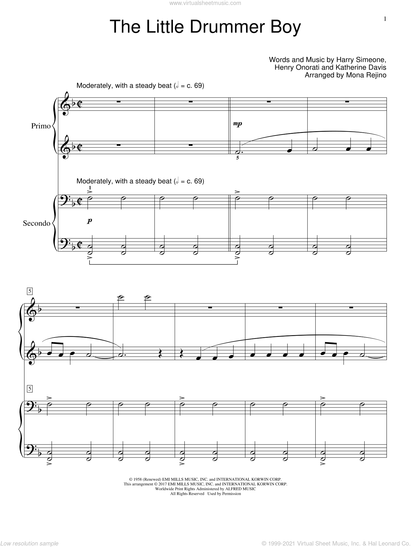 The Little Drummer Boy sheet music for piano four hands by Katherine Davis and Harry Simeone, intermediate. Score Image Preview.