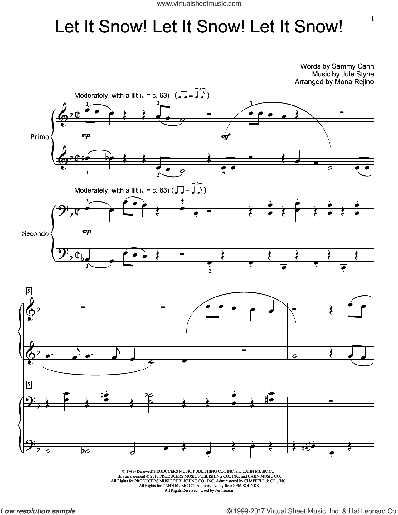 Let It Snow! Let It Snow! Let It Snow! sheet music for piano four hands by Sammy Cahn and Jule Styne, intermediate skill level