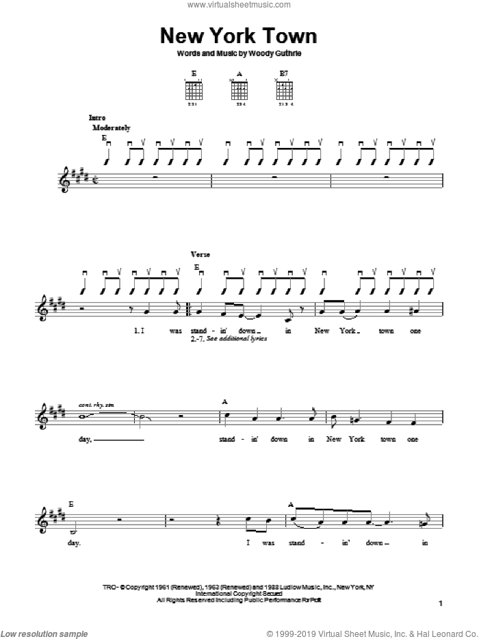 New York Town sheet music for guitar solo (chords) by Woody Guthrie, easy guitar (chords). Score Image Preview.