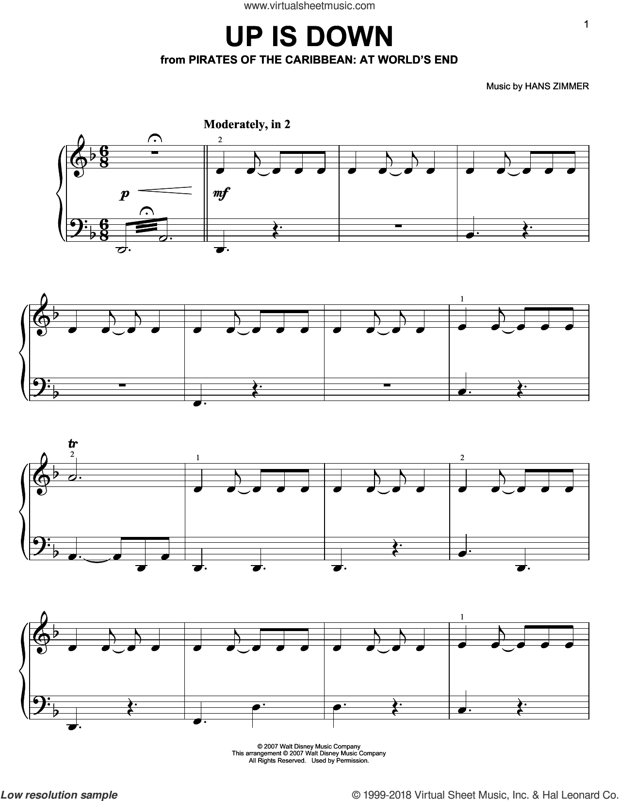 Up Is Down (from Pirates Of The Caribbean: At World's End) sheet music for piano solo by Hans Zimmer, easy skill level