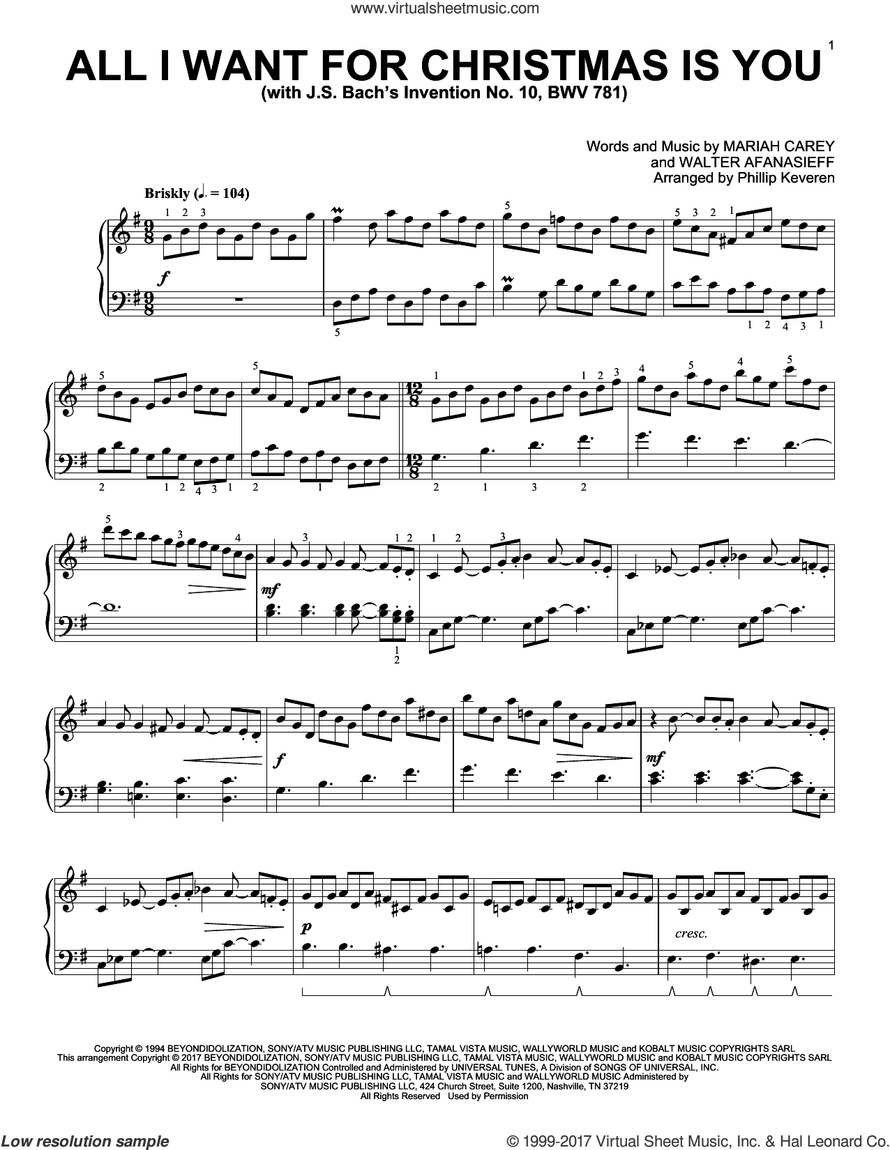 All I Want For Christmas Is You [Classical version] (arr. Phillip Keveren) sheet music for piano solo by Mariah Carey, Phillip Keveren and Walter Afanasieff, intermediate skill level