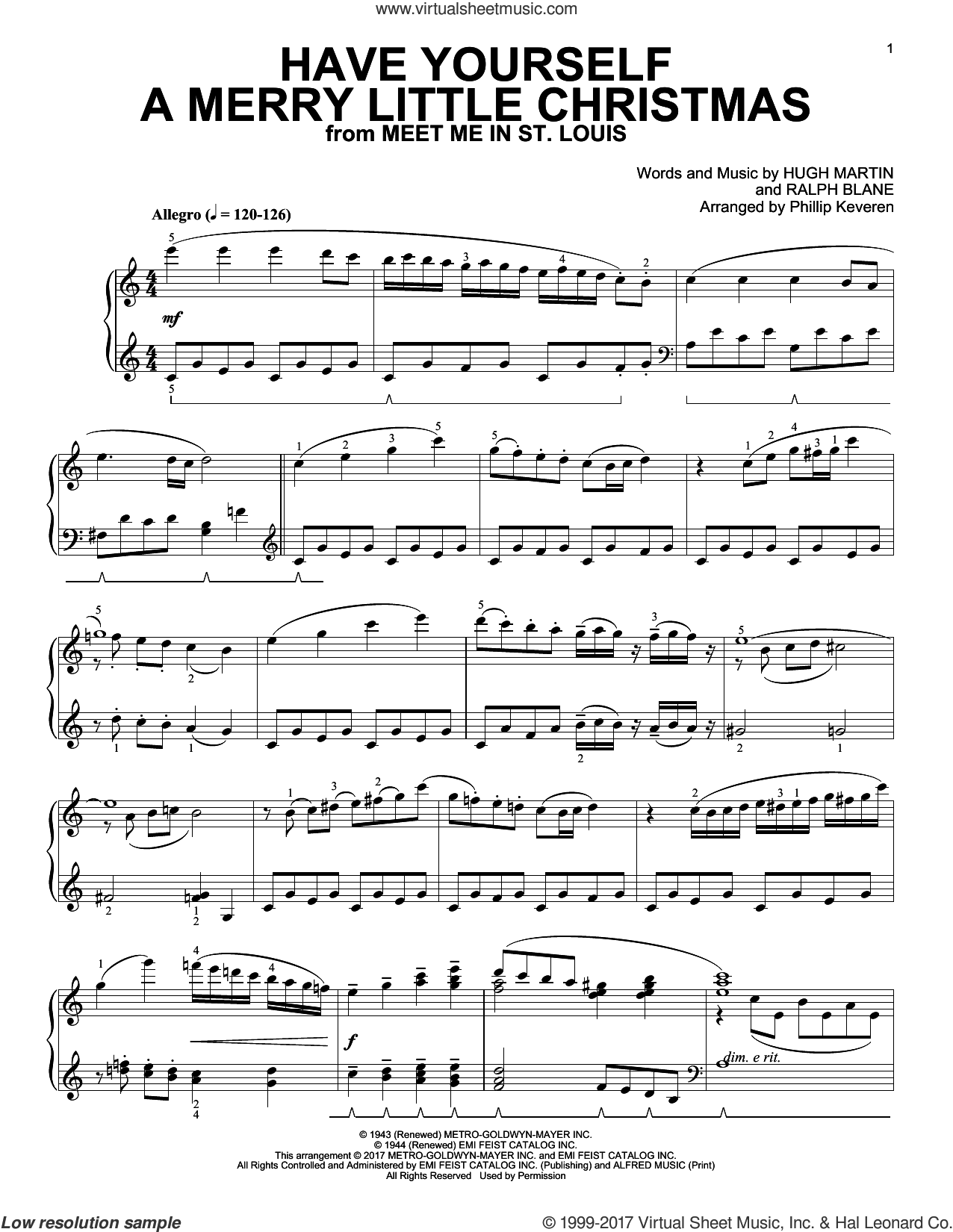 Have Yourself A Merry Little Christmas [Classical version] (arr. Phillip Keveren) sheet music for piano solo by Hugh Martin, Phillip Keveren and Ralph Blane, intermediate skill level