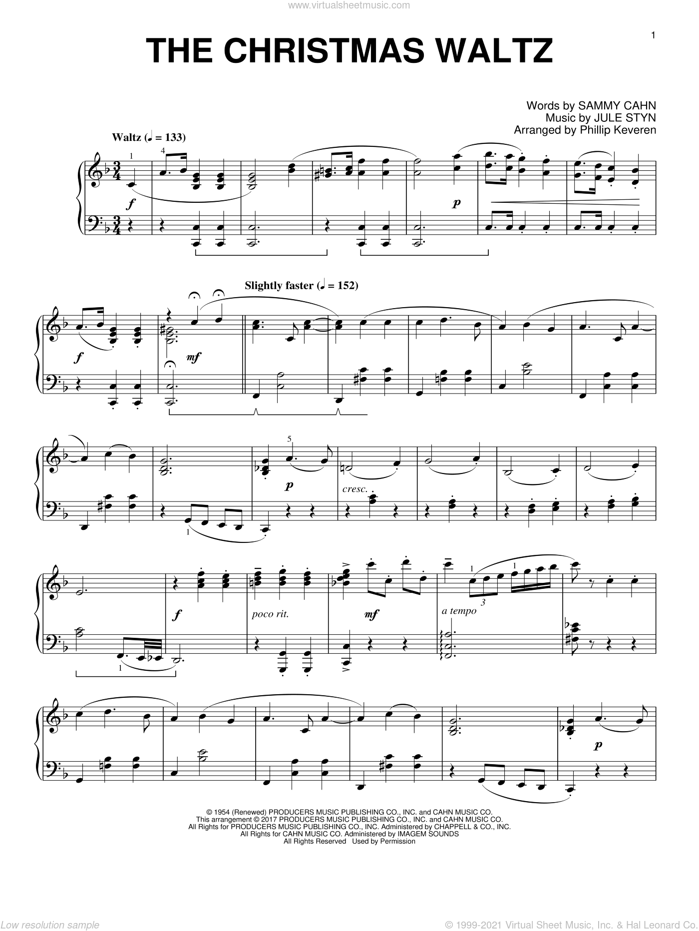 The Christmas Waltz sheet music for piano solo by Sammy Cahn, Phillip Keveren and Jule Styne, intermediate skill level