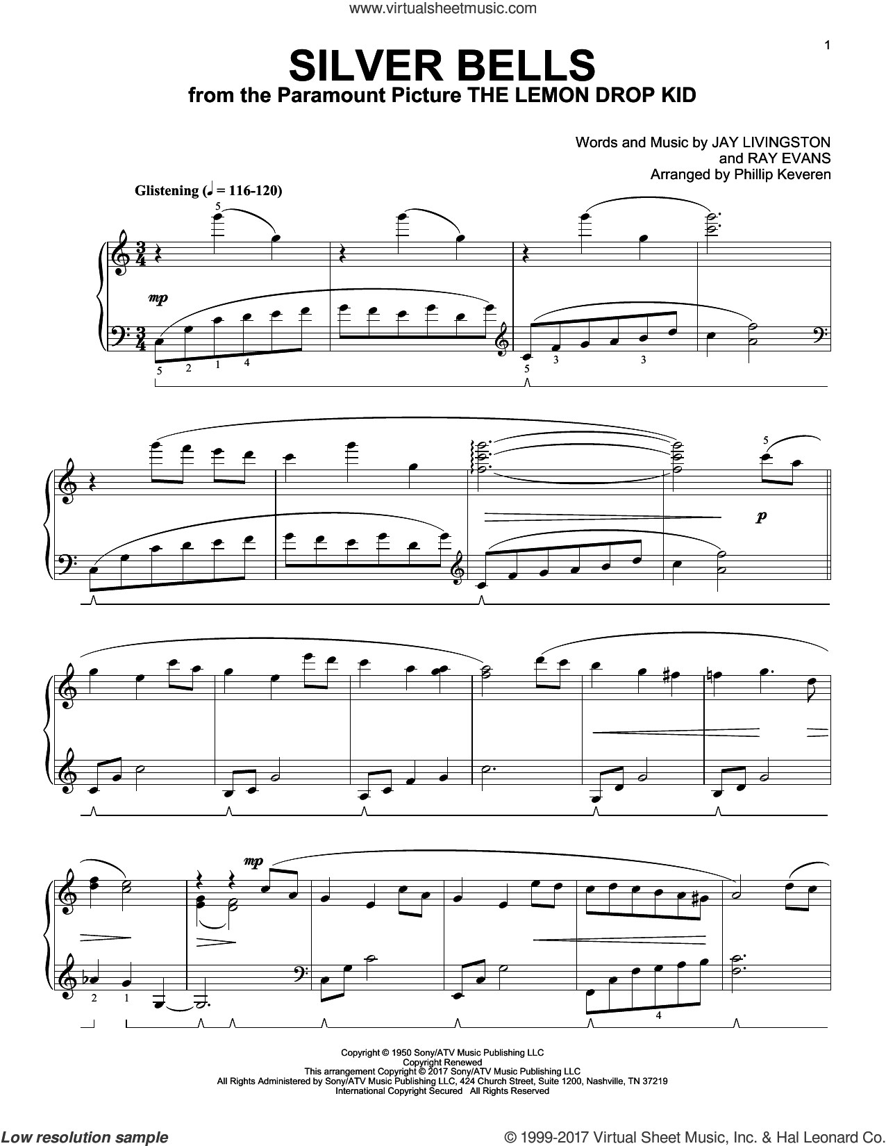 Silver Bells [Classical version] (arr. Phillip Keveren) sheet music for piano solo by Jay Livingston, Phillip Keveren and Ray Evans, intermediate skill level