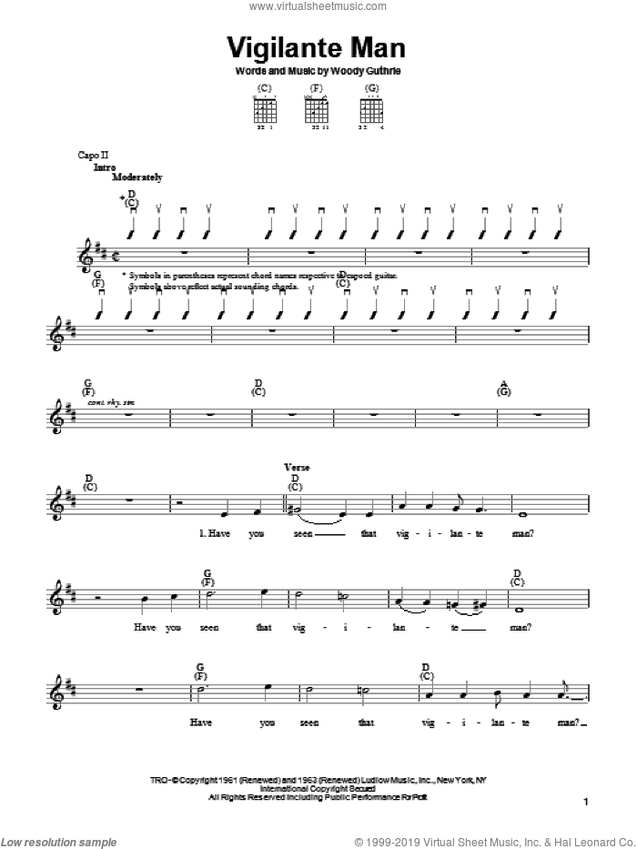 Vigilante Man sheet music for guitar solo (chords) by Woody Guthrie, easy guitar (chords)