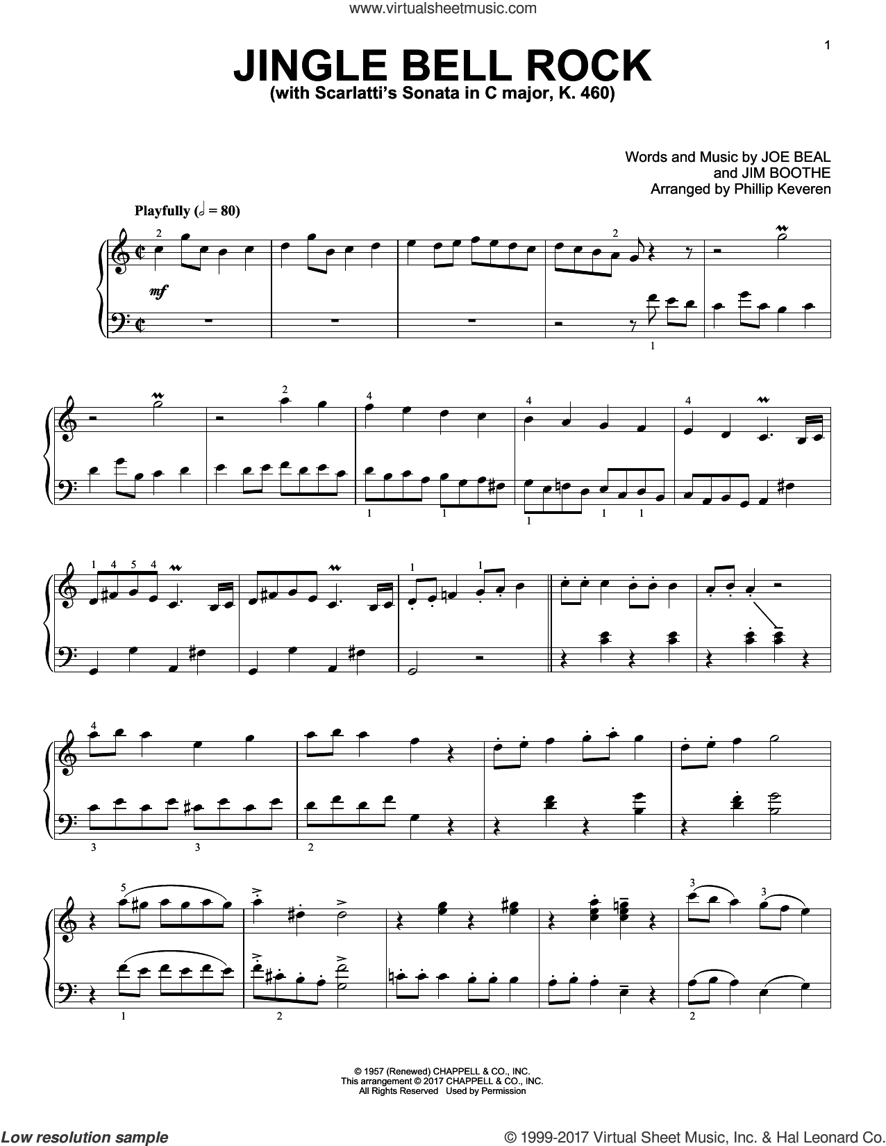 Jingle Bell Rock [Classical version] (arr. Phillip Keveren) sheet music for piano solo by Joe Beal, Phillip Keveren and Jim Boothe, intermediate skill level