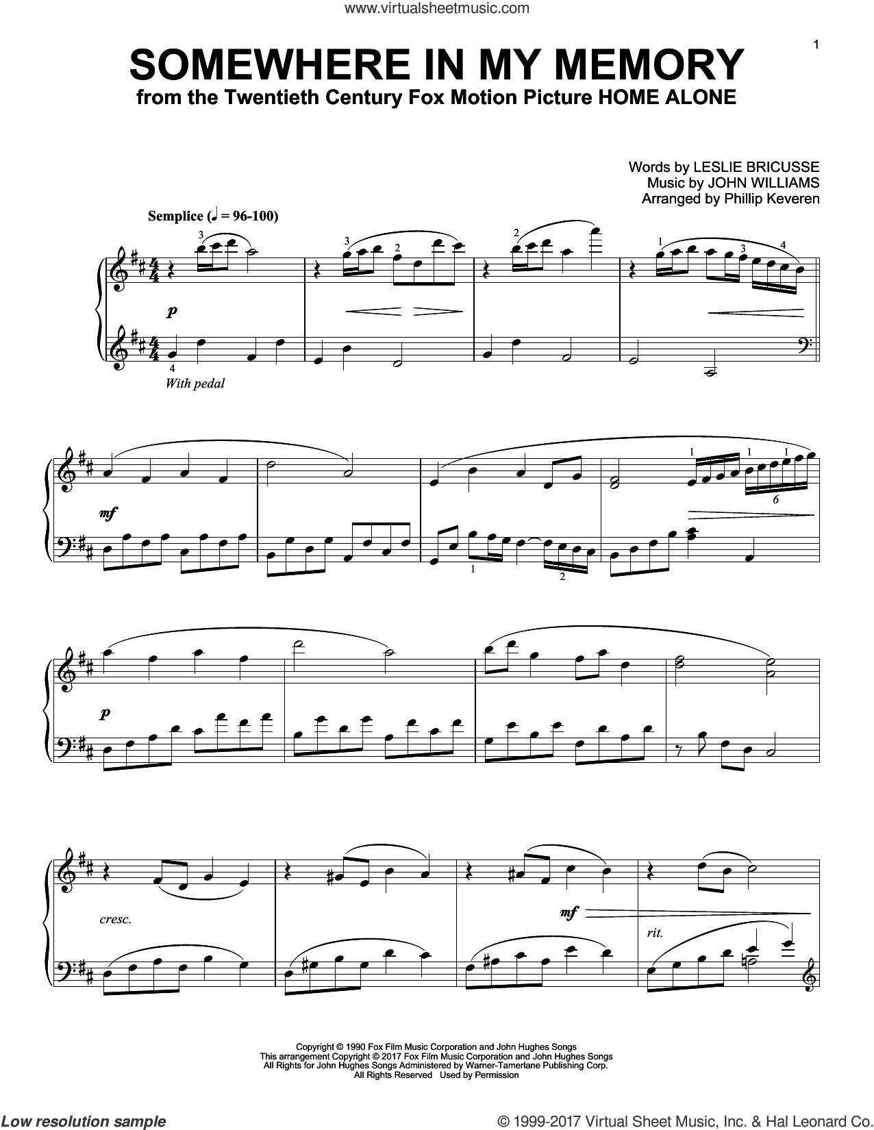 Somewhere In My Memory (arr. Phillip Keveren) sheet music for piano solo by John Williams, Phillip Keveren and Leslie Bricusse, intermediate skill level