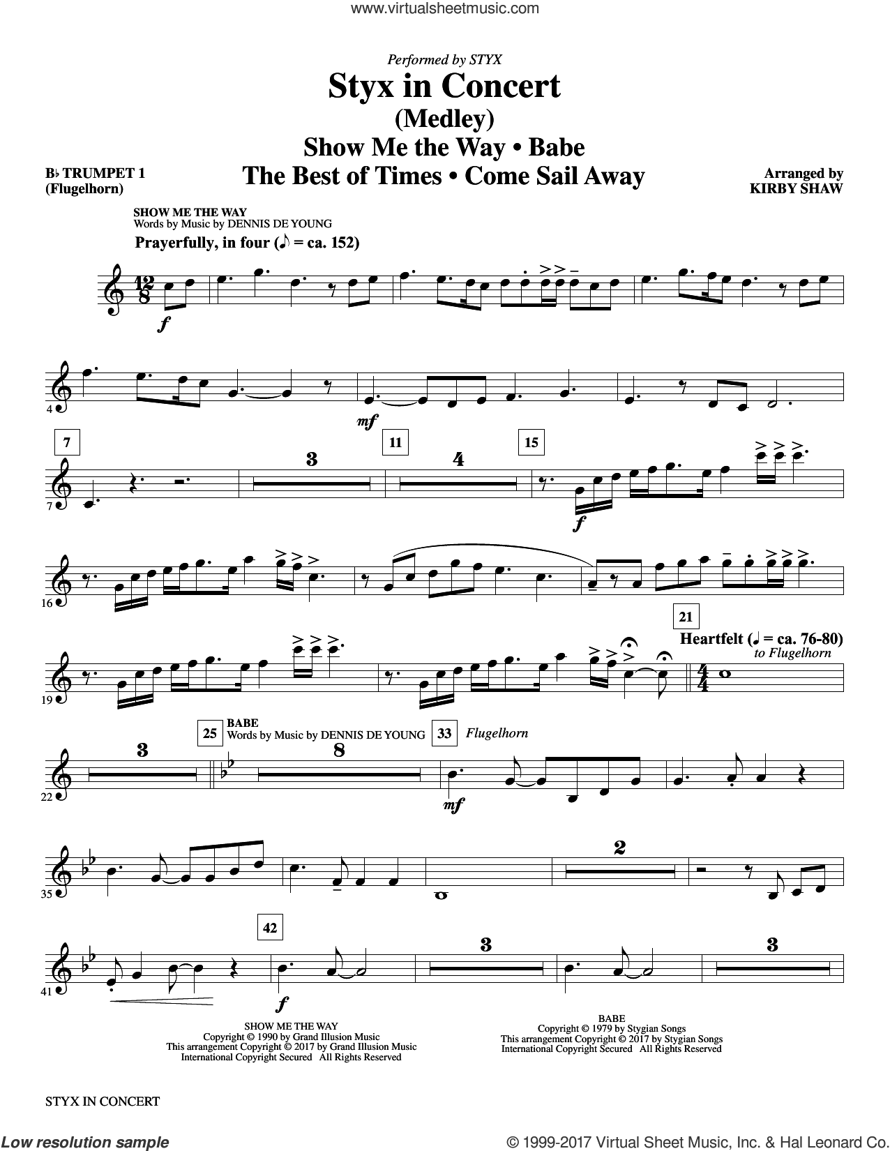 Styx in Concert (complete set of parts) sheet music for orchestra/band by Kirby Shaw, Dennis DeYoung and Styx, intermediate skill level
