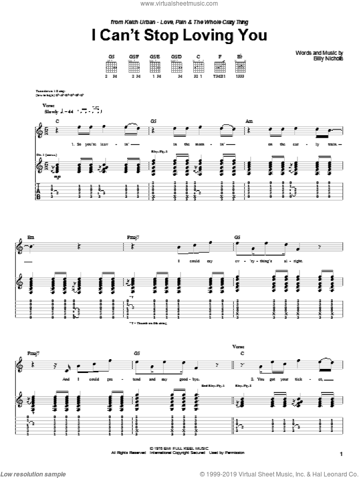 Can't Stop Loving You (Though I Try) sheet music for guitar (tablature) by Keith Urban, Leo Sayer, Phil Collins and Billy Nicholls, intermediate