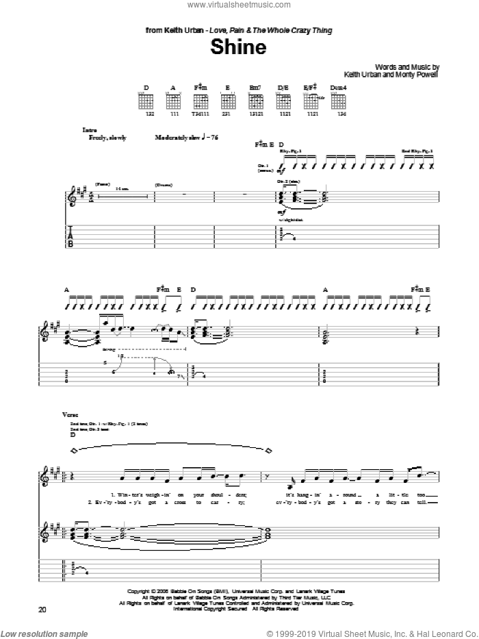 Shine sheet music for guitar (tablature) by Monty Powell and Keith Urban. Score Image Preview.